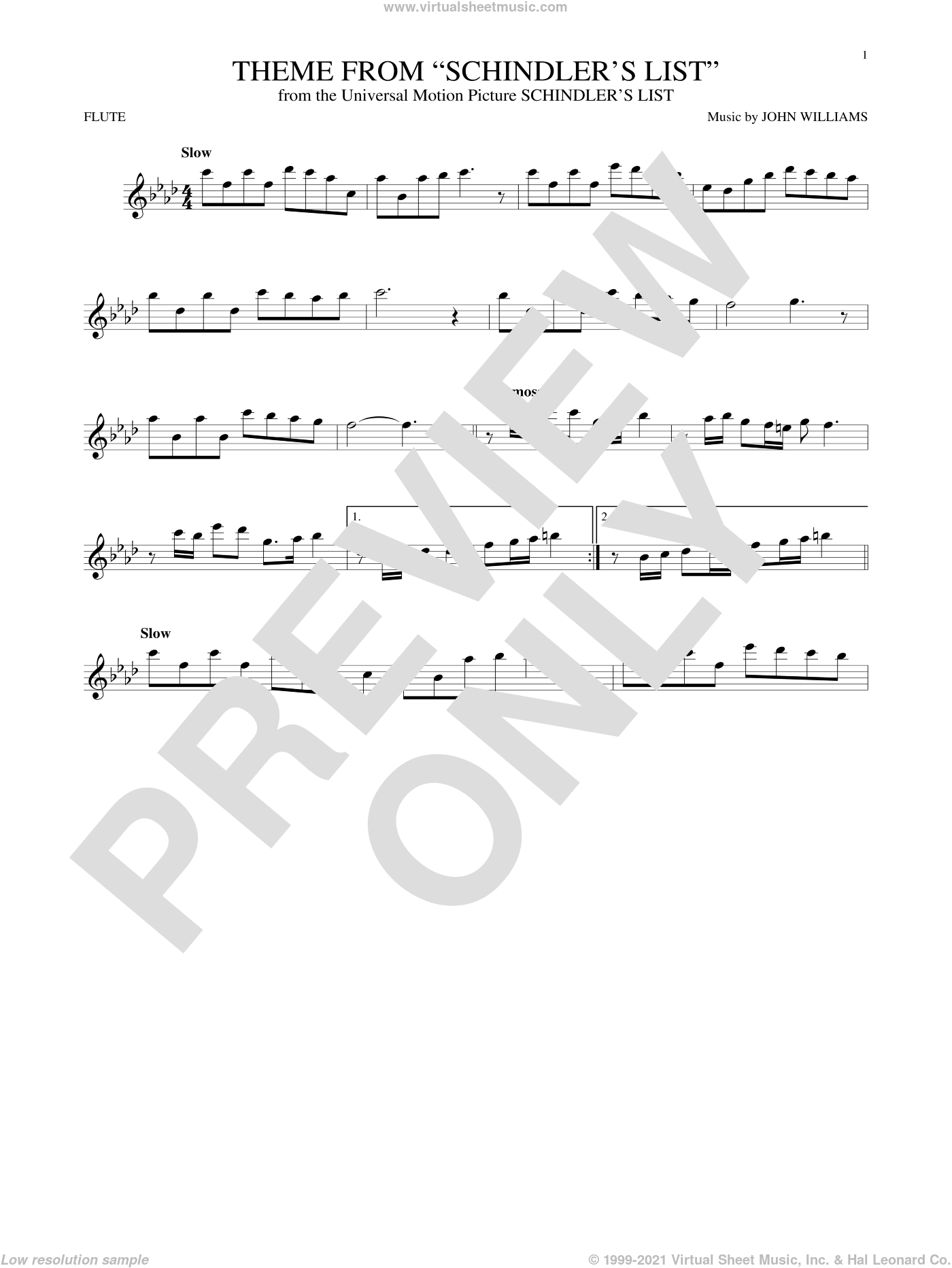 Theme From Schindler's List sheet music for flute solo by John Williams, intermediate skill level
