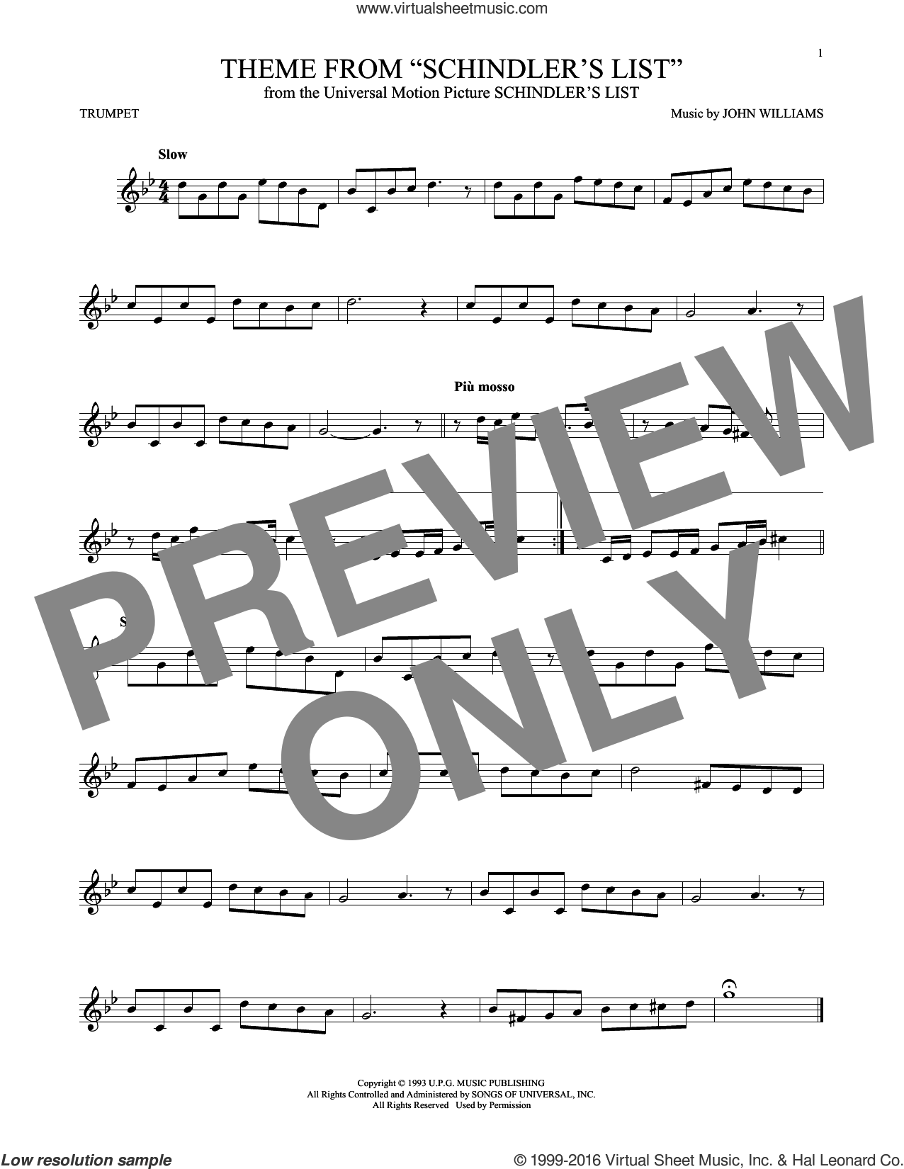 Theme From Schindler's List sheet music for trumpet solo by John Williams. Score Image Preview.