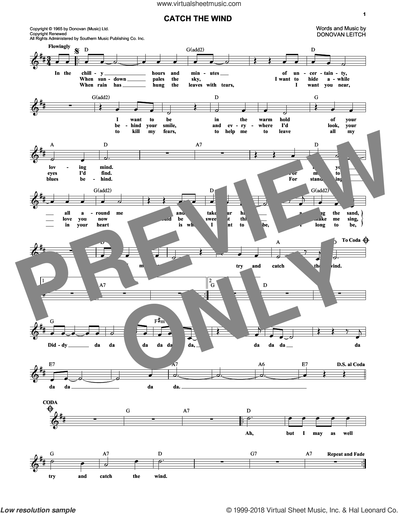 Catch The Wind sheet music for voice and other instruments (fake book) by Walter Donovan, intermediate voice. Score Image Preview.
