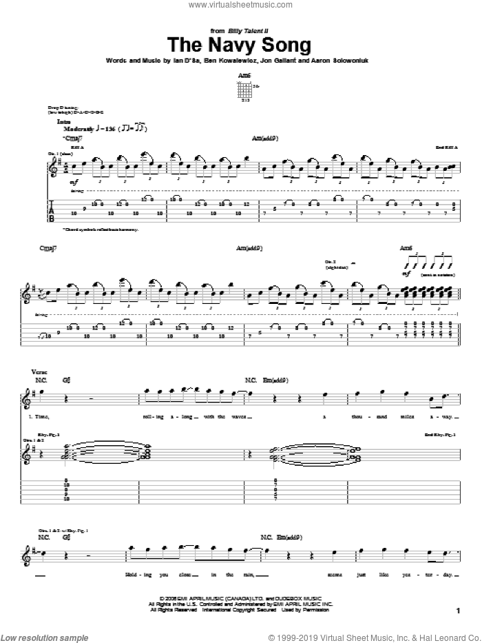 The Navy Song sheet music for guitar (tablature) by Billy Talent, Aaron Solowoniuk, Ben Kowalewicz and Jon Gallant, intermediate skill level
