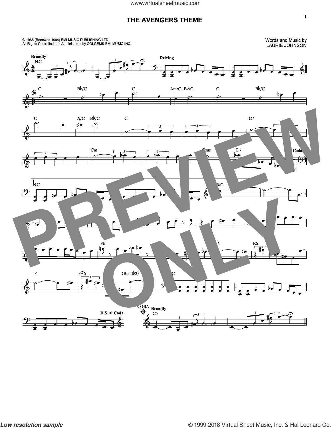The Avengers Theme sheet music for voice and other instruments (fake book) by Laurie Johnson, intermediate skill level