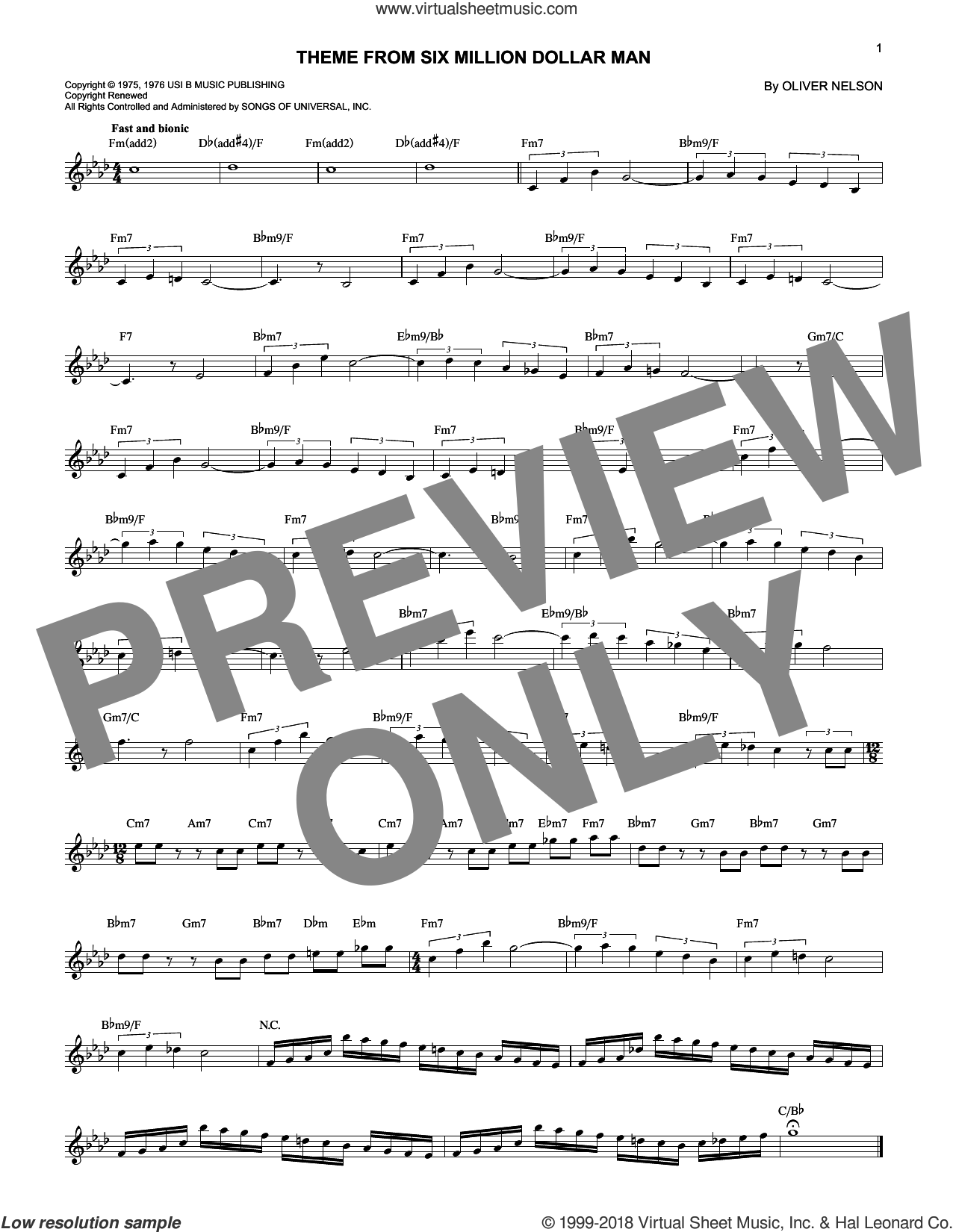 Theme From Six Million Dollar Man sheet music for voice and other instruments (fake book) by Oliver Nelson, intermediate skill level