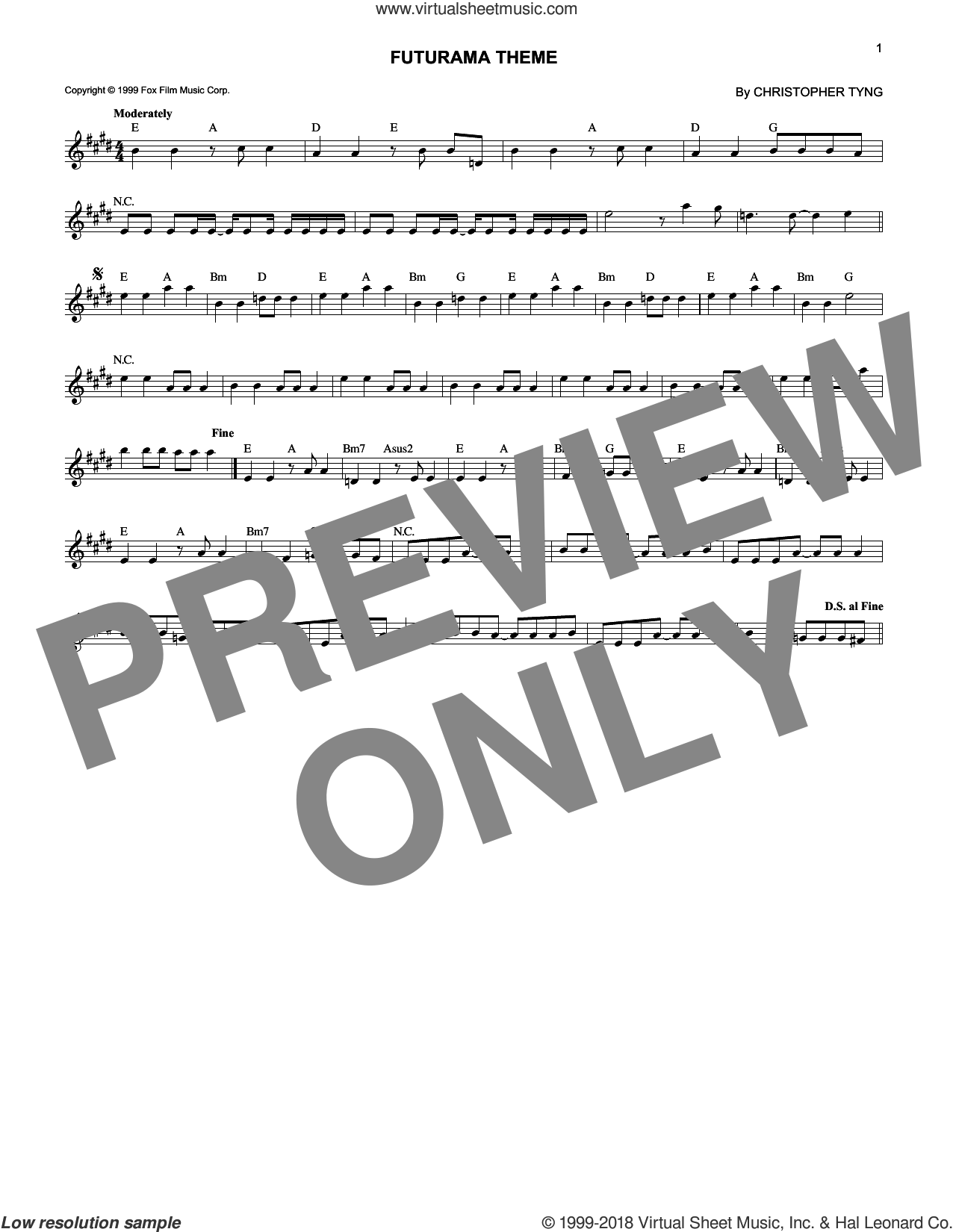 Futurama Theme sheet music for voice and other instruments (fake book) by Christopher Tyng, intermediate voice. Score Image Preview.