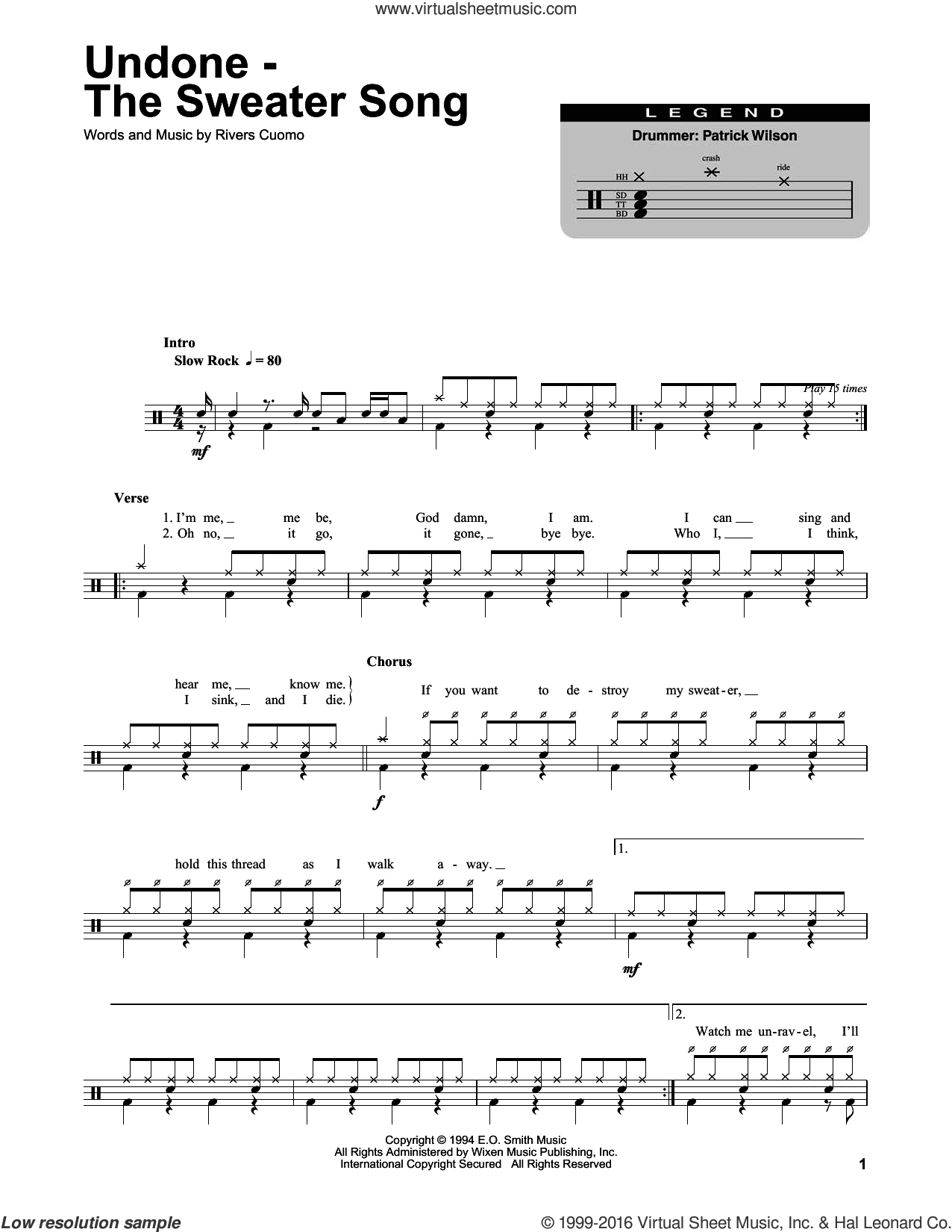 Undone - The Sweater Song sheet music for drums by Weezer, intermediate drums. Score Image Preview.