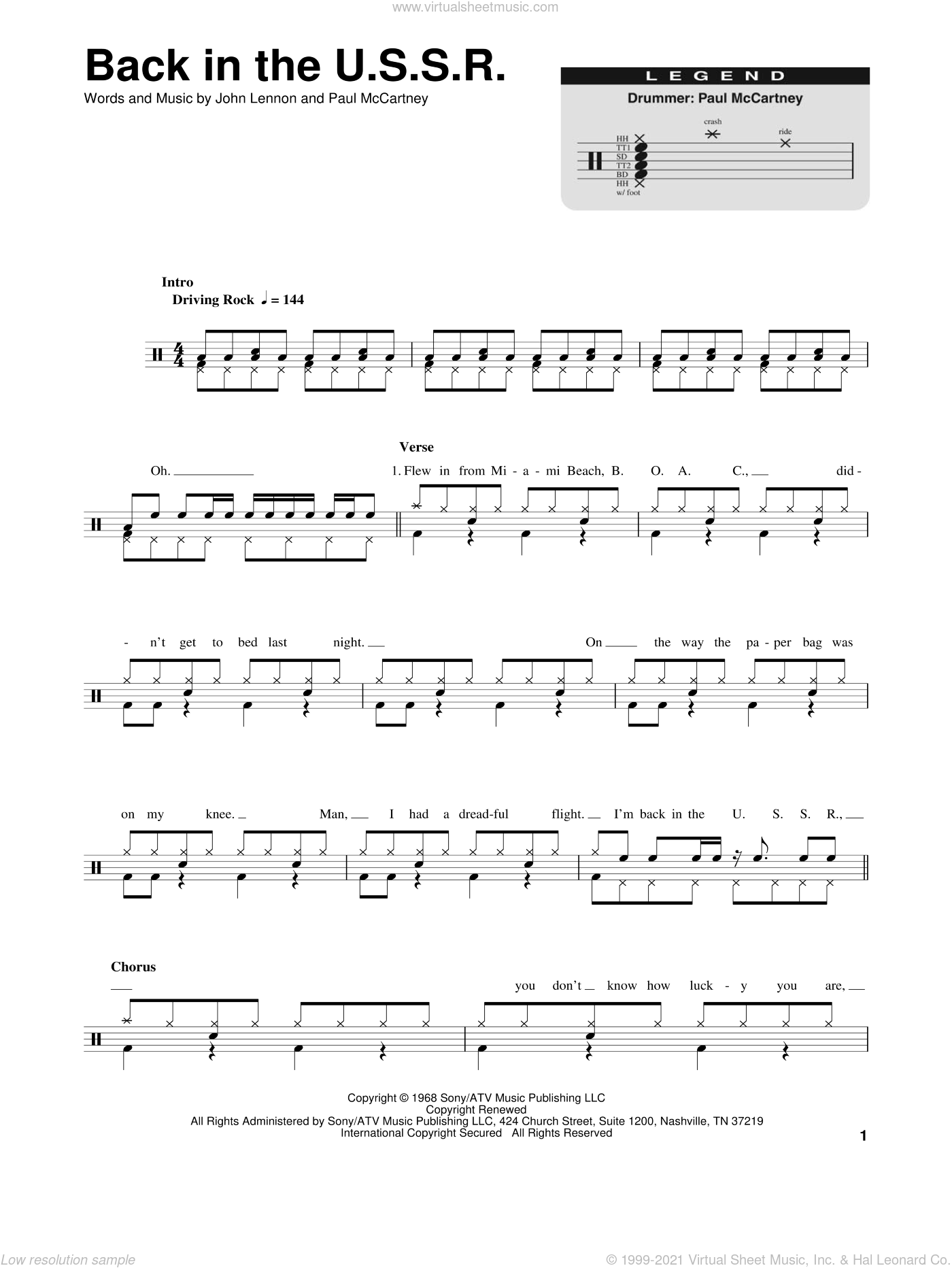 Beatles - Back In The U S S R  sheet music for drums [PDF]