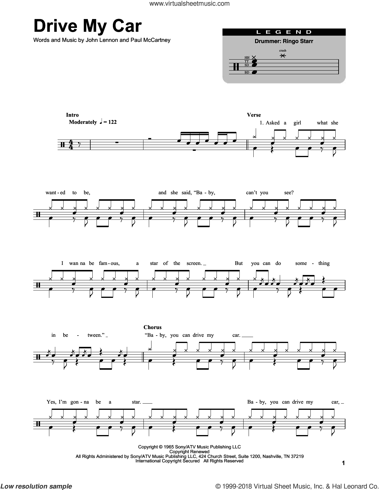 Drive My Car sheet music for drums by The Beatles, John Lennon and Paul McCartney. Score Image Preview.