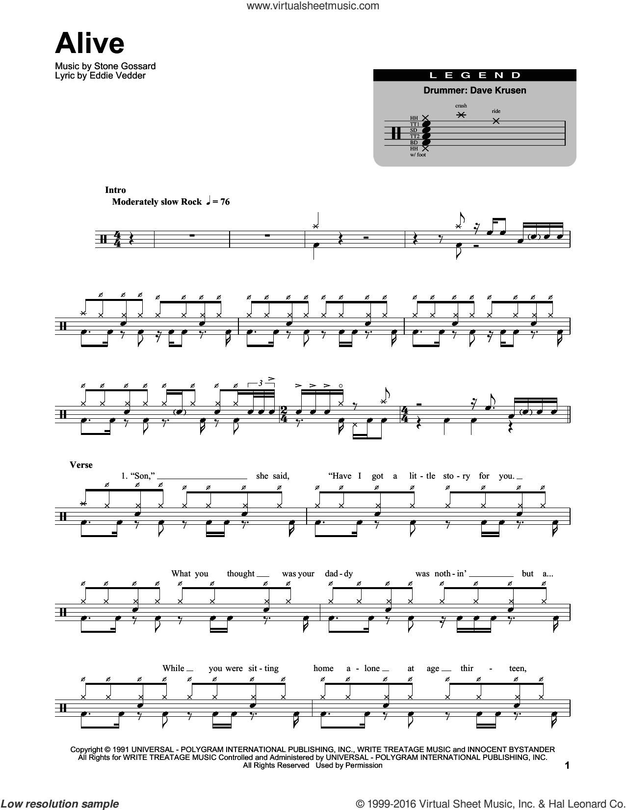 Alive sheet music for drums by Pearl Jam, Eddie Vedder and Stone Gossard, intermediate skill level
