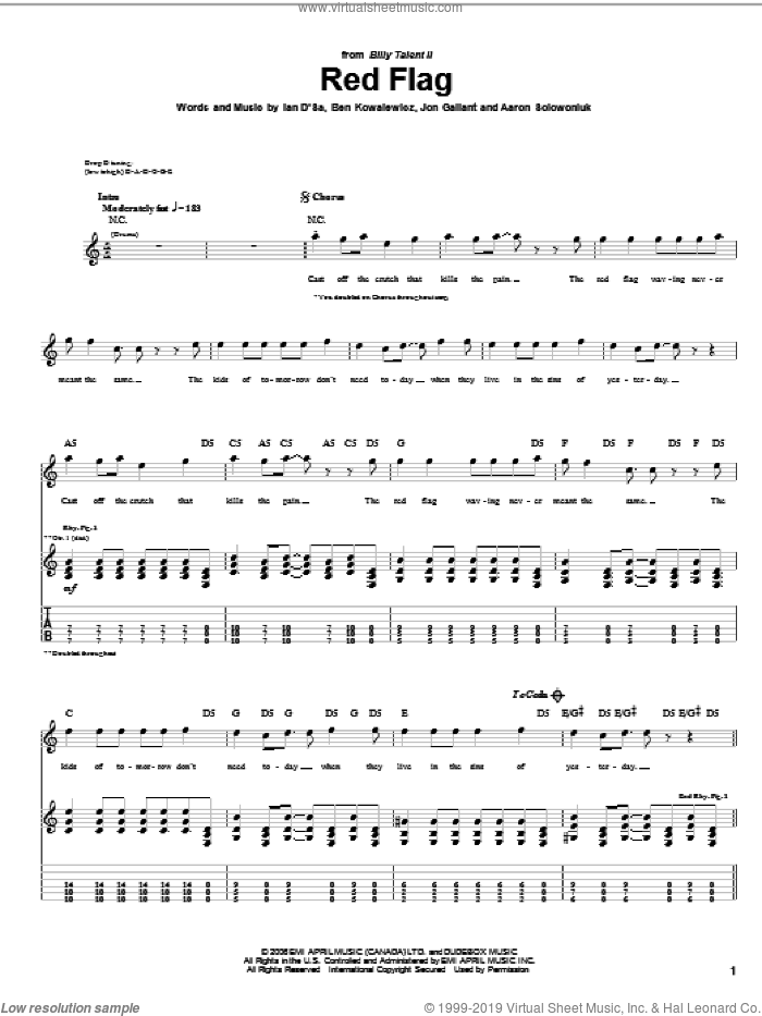 Red Flag sheet music for guitar (tablature) by Jon Gallant. Score Image Preview.
