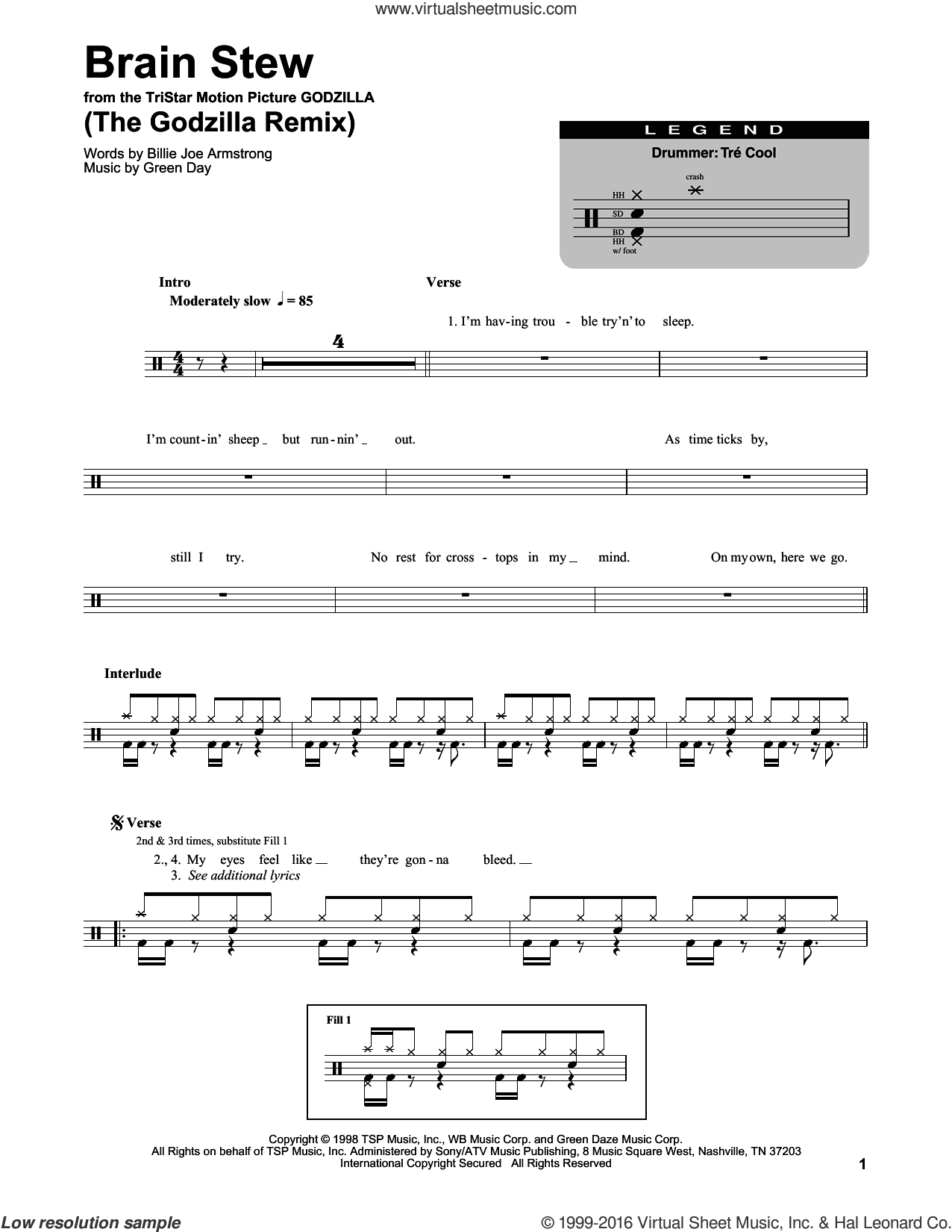 Brain Stew (The Godzilla Remix) sheet music for drums by Green Day and Billie Joe Armstrong, intermediate drums. Score Image Preview.