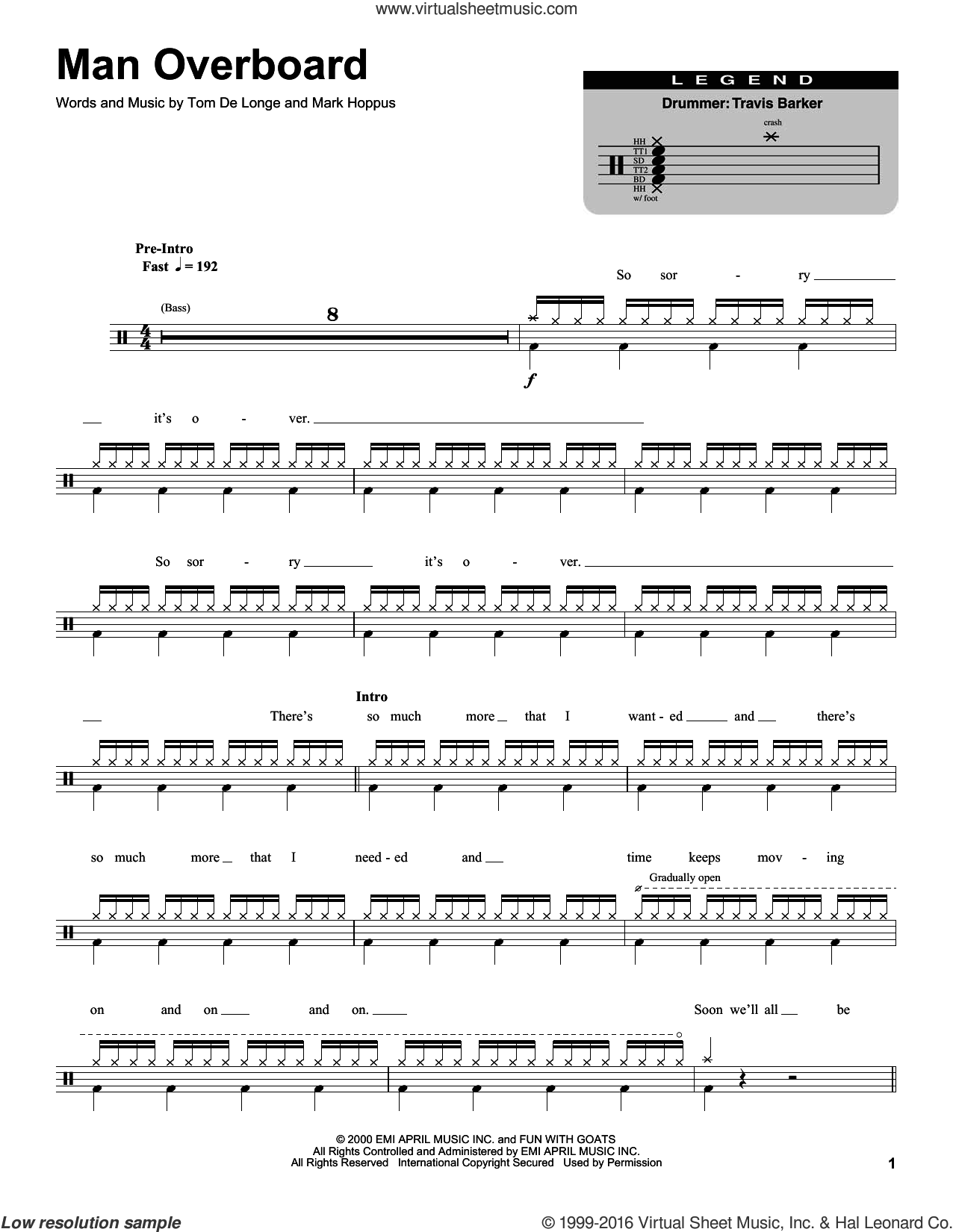 Man Overboard sheet music for drums by Blink 182, Mark Hoppus and Tom DeLonge, intermediate skill level