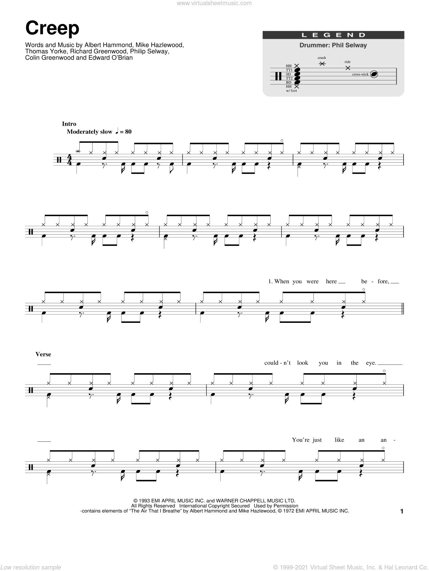 Creep sheet music for drums by Radiohead, Albert Hammond, Colin Greenwood, Jonathan Greenwood, Michael Hazlewood, Philip Selway and Thom Yorke, classical score, intermediate skill level