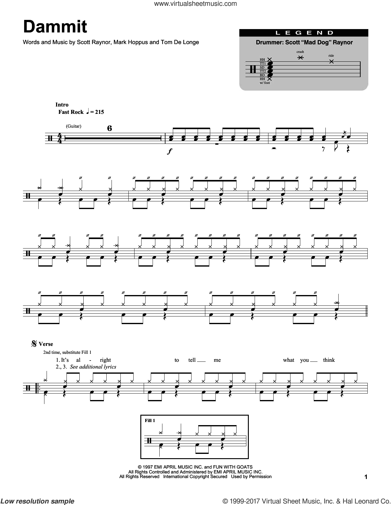 Dammit sheet music for drums by Blink 182, Mark Hoppus, Scott Raynor and Tom DeLonge, intermediate skill level