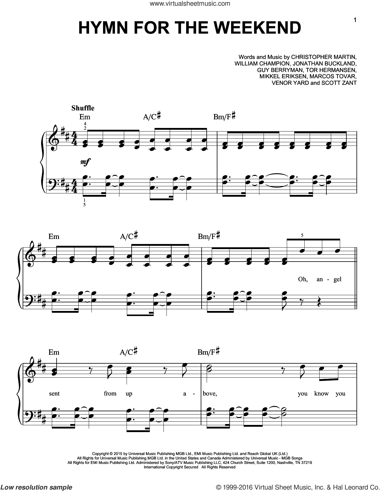 Hymn For The Weekend sheet music for piano solo by Coldplay, Christopher Martin, Guy Berryman, Jonathan Buckland, Marcos Tovar, Mikkel Eriksen, Scott Zant, Tor Erik Hermansen, Venar Yard and William Champion, easy skill level