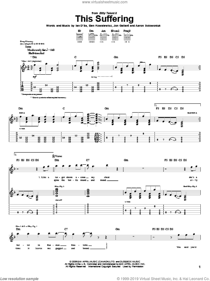 This Suffering sheet music for guitar (tablature) by Billy Talent, Aaron Solowoniuk, Ben Kowalewicz and Jon Gallant, intermediate skill level