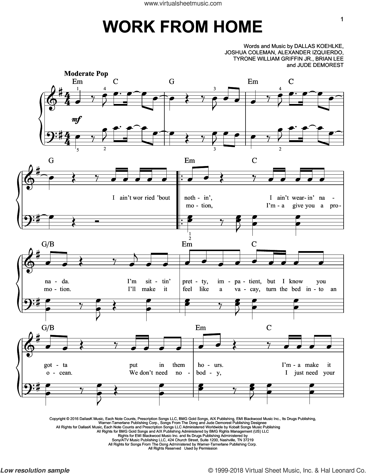 Work From Home sheet music for piano solo by Tyrone William Griffin Jr., Brian Lee and Joshua Coleman. Score Image Preview.