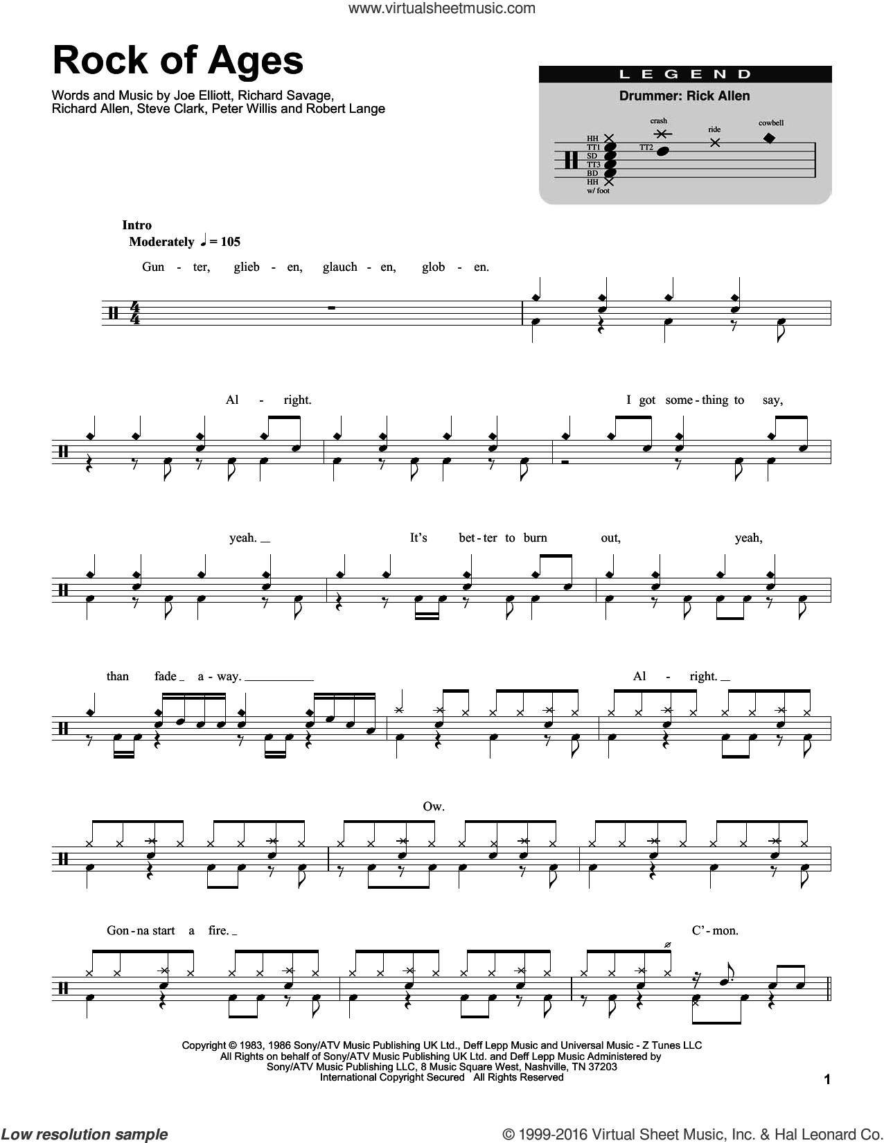 Rock Of Ages sheet music for drums by Steve Clark, Def Leppard, Joe Elliott and Robert John Lange. Score Image Preview.