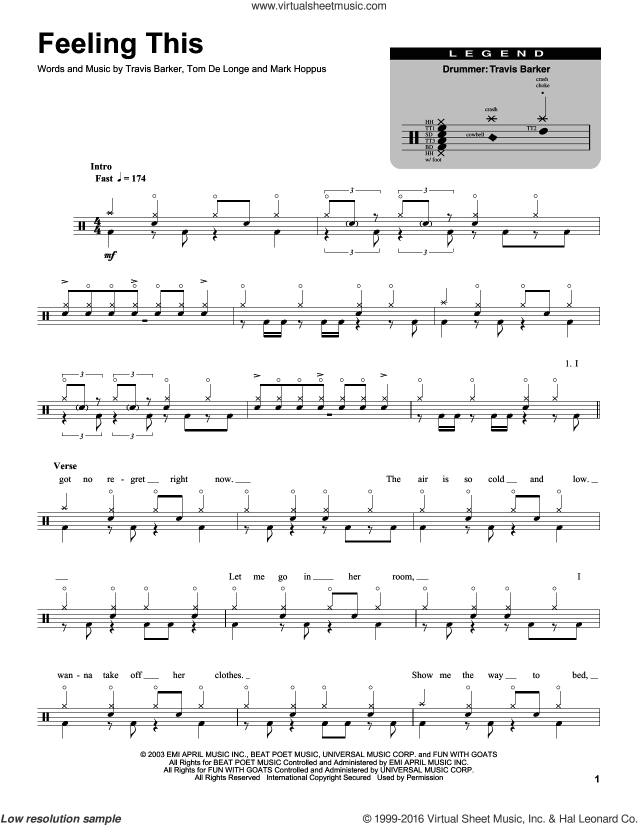 Feeling This sheet music for drums by Travis Barker, Mark Hoppus and Tom DeLonge. Score Image Preview.