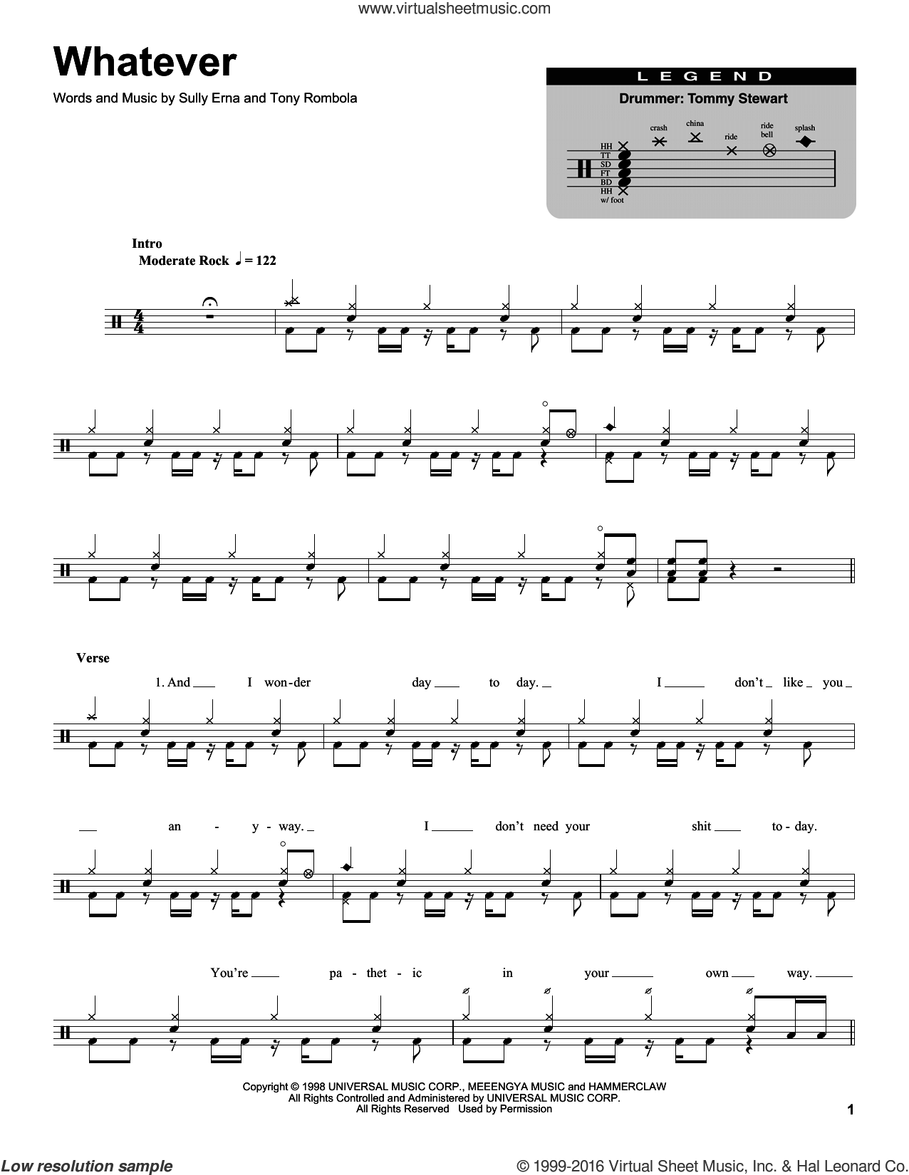 Whatever sheet music for drums by Tony Rombola and Sully Erna. Score Image Preview.
