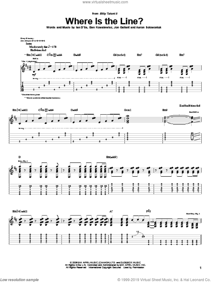 Where Is The Line? sheet music for guitar (tablature) by Billy Talent. Score Image Preview.