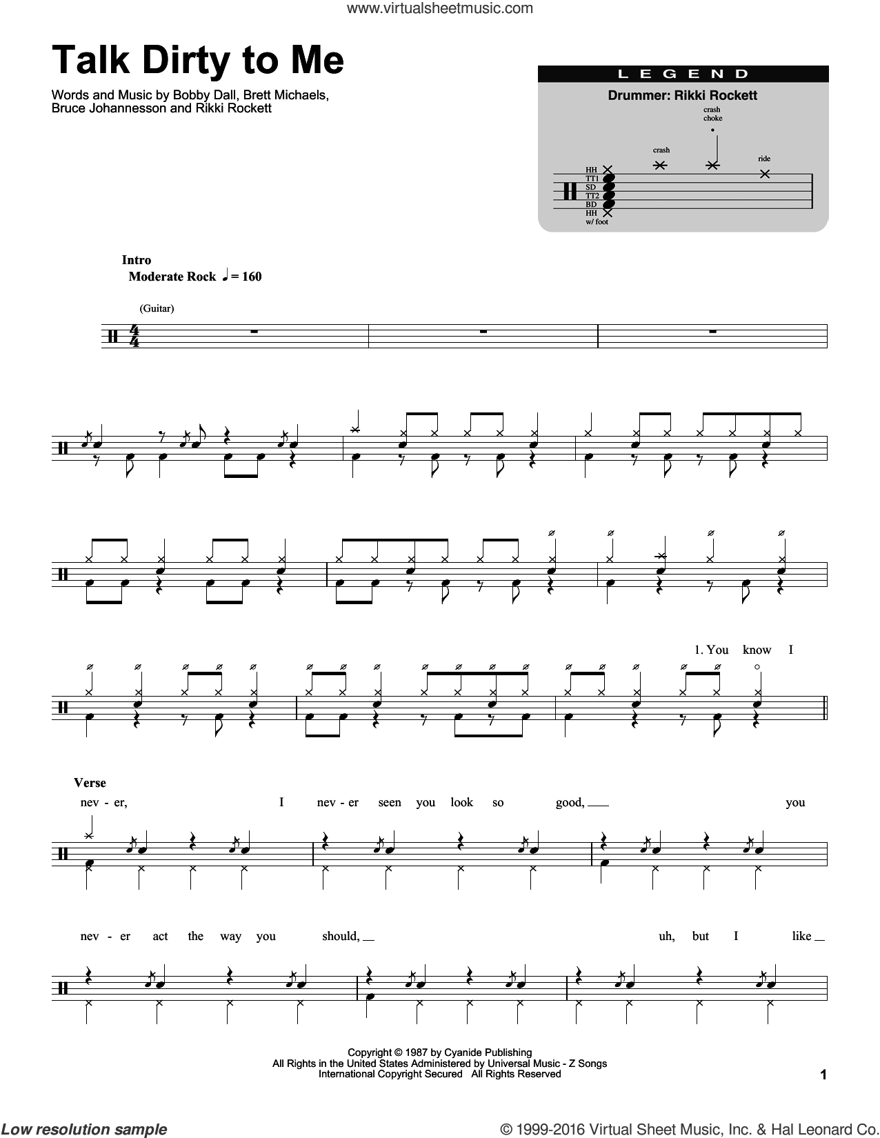 Talk Dirty To Me sheet music for drums by Rikki Rockett