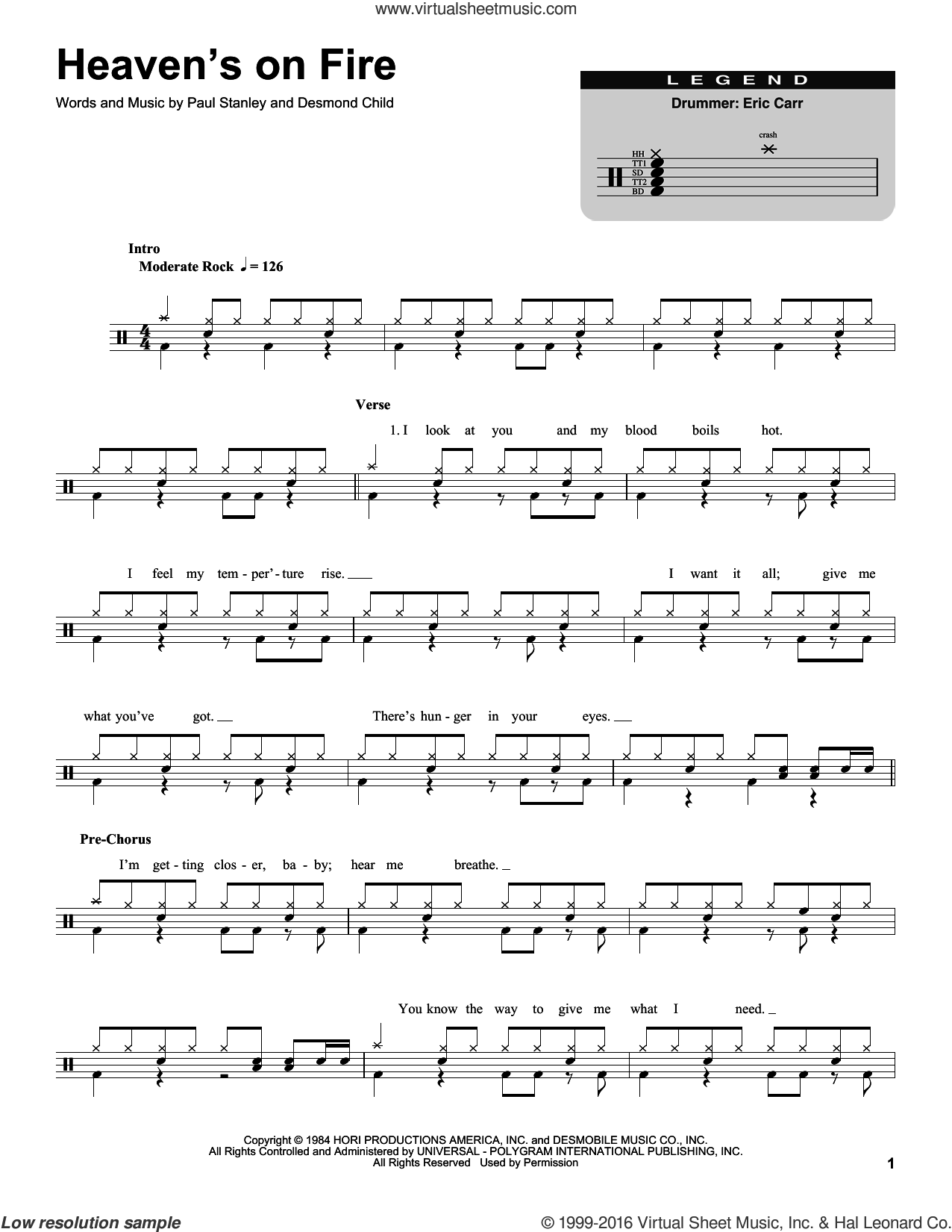 Heaven's On Fire sheet music for drums by KISS, Desmond Child and Paul Stanley, intermediate skill level
