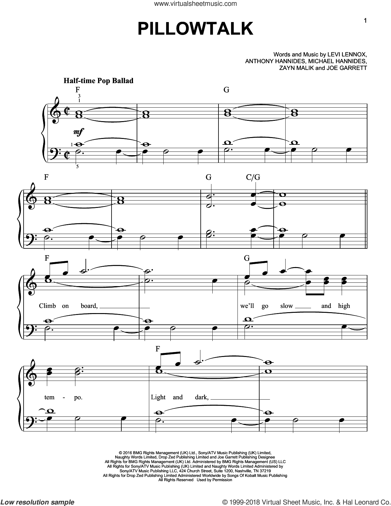 Pillowtalk sheet music for piano solo by Zayn Malik and Michael Hannides. Score Image Preview.