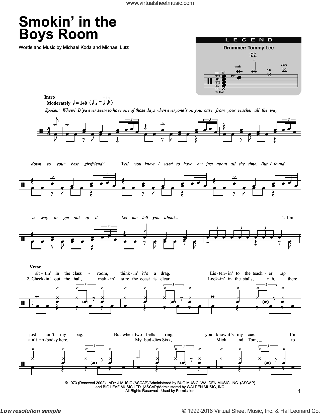 Smokin' In The Boys Room sheet music for drums by Motley Crue, Brownsville Station, Michael Koda and Michael Lutz, intermediate. Score Image Preview.