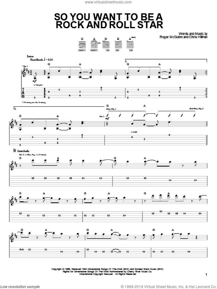 So You Want To Be A Rock And Roll Star sheet music for guitar solo (easy tablature) by Roger McGuinn, The Byrds and Chris Hillman