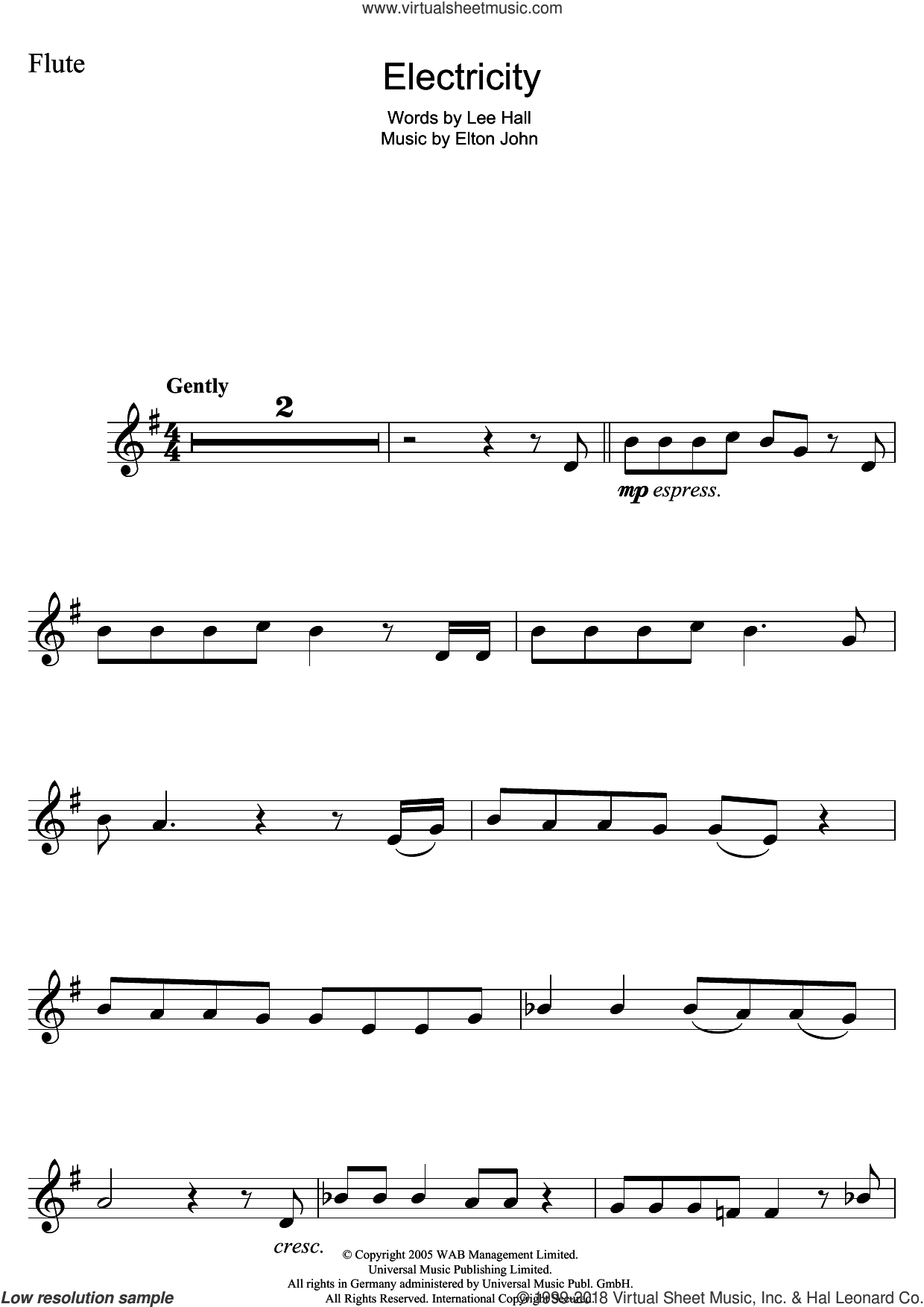 Electricity (from Billy Elliot: The Musical) sheet music for flute solo by Elton John and Lee Hall, intermediate skill level