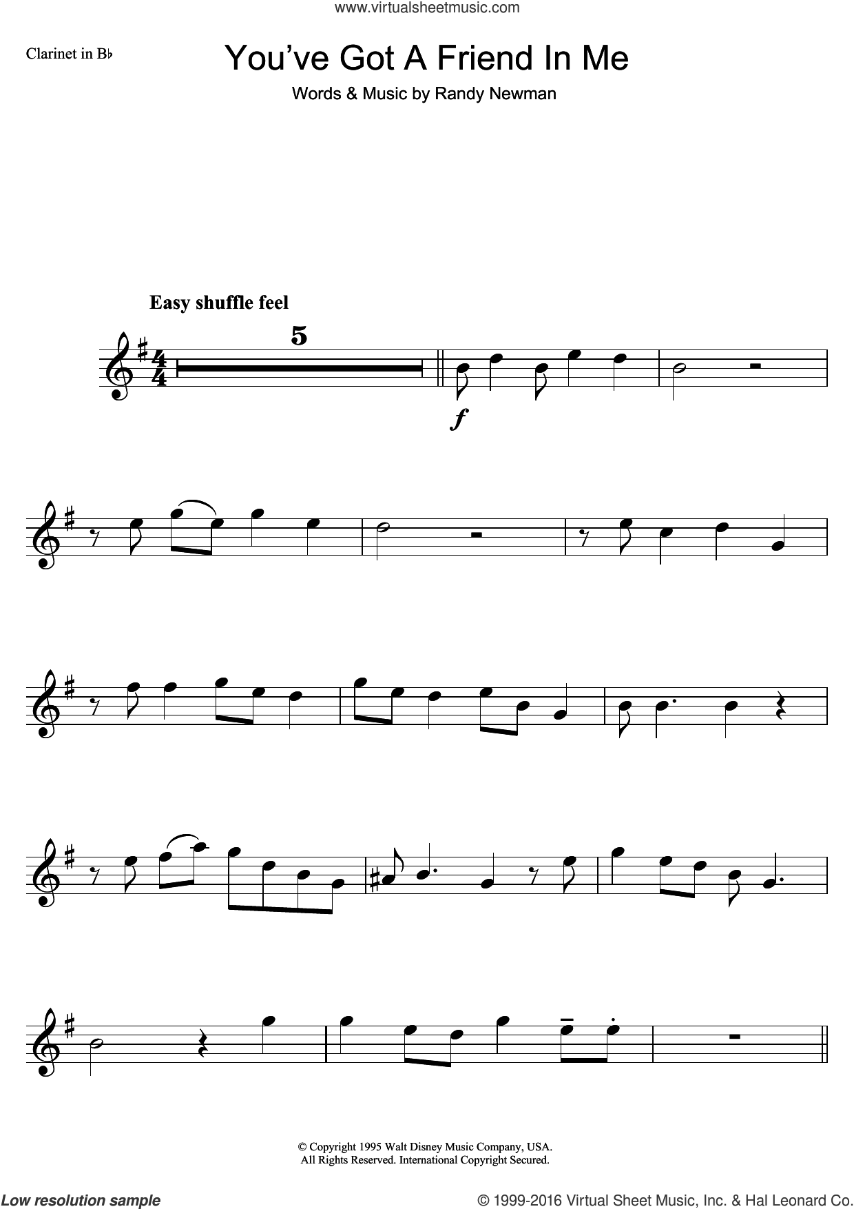 You've Got A Friend In Me (from Disney's Toy Story) sheet music for clarinet solo by Randy Newman, intermediate skill level