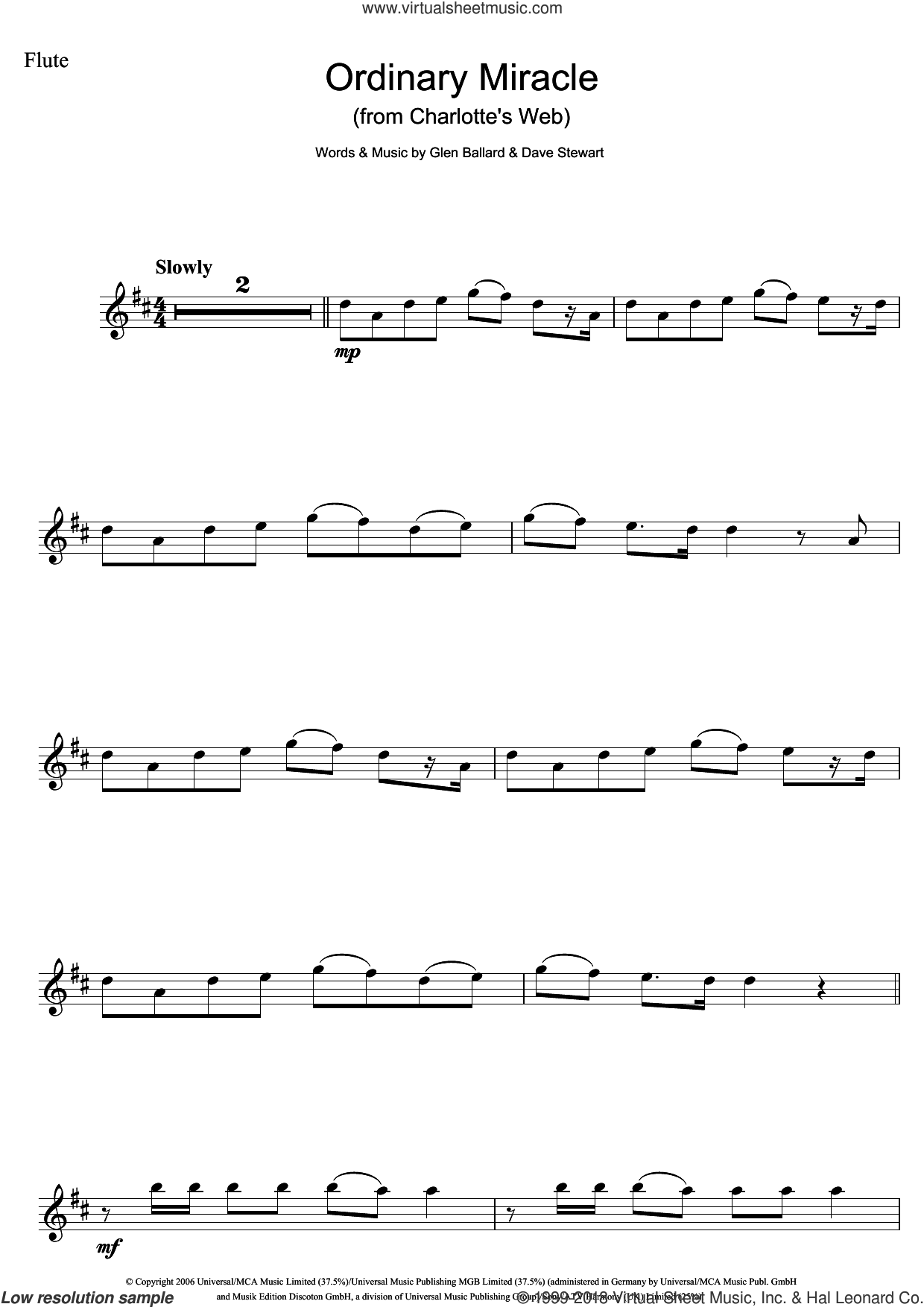 Ordinary Miracle (from Charlotte's Web) sheet music for flute solo by Sarah McLachlan, Dave Stewart and Glen Ballard, intermediate skill level