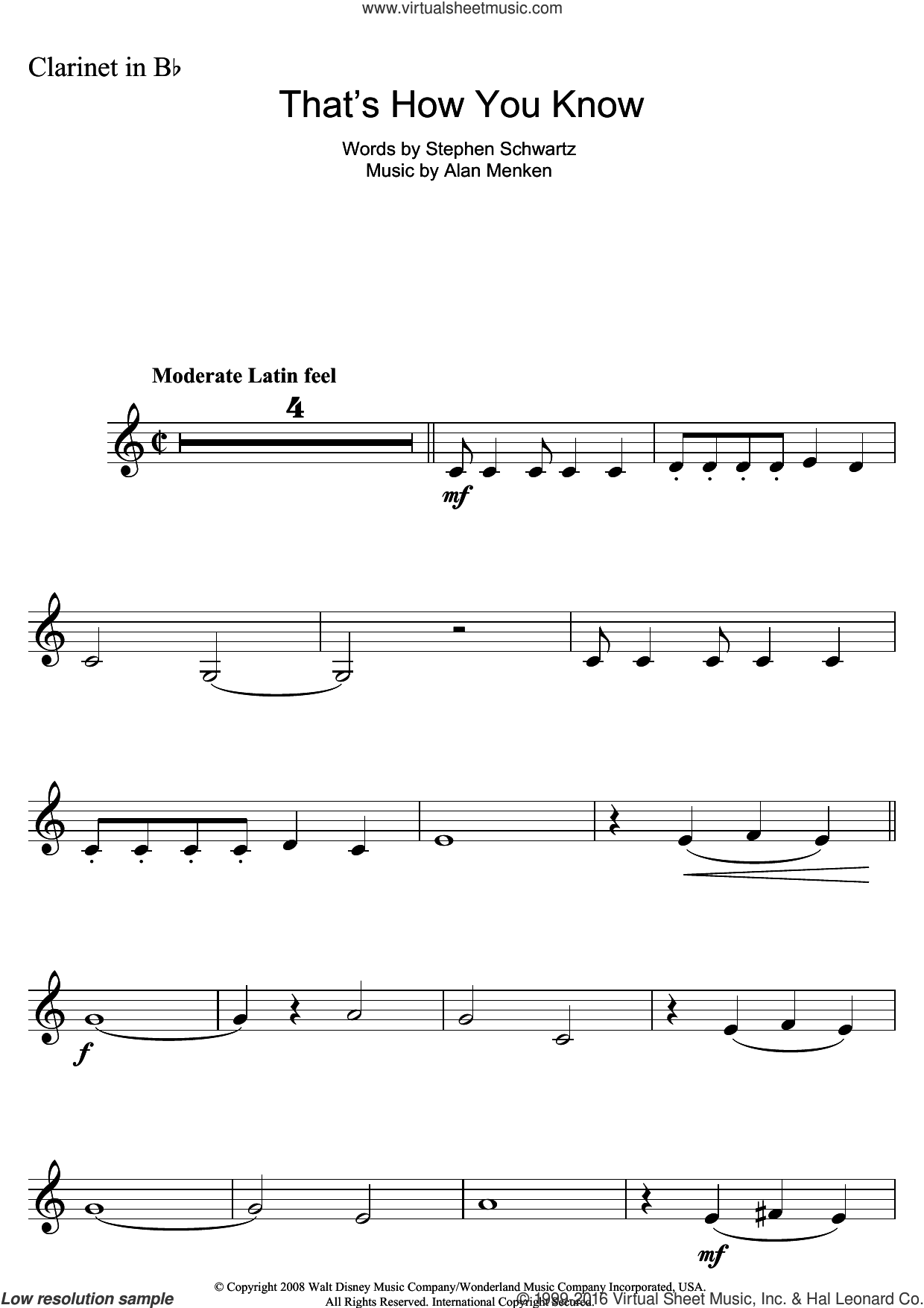 That's How You Know (from Enchanted) sheet music for clarinet solo by Alan Menken and Stephen Schwartz, intermediate skill level