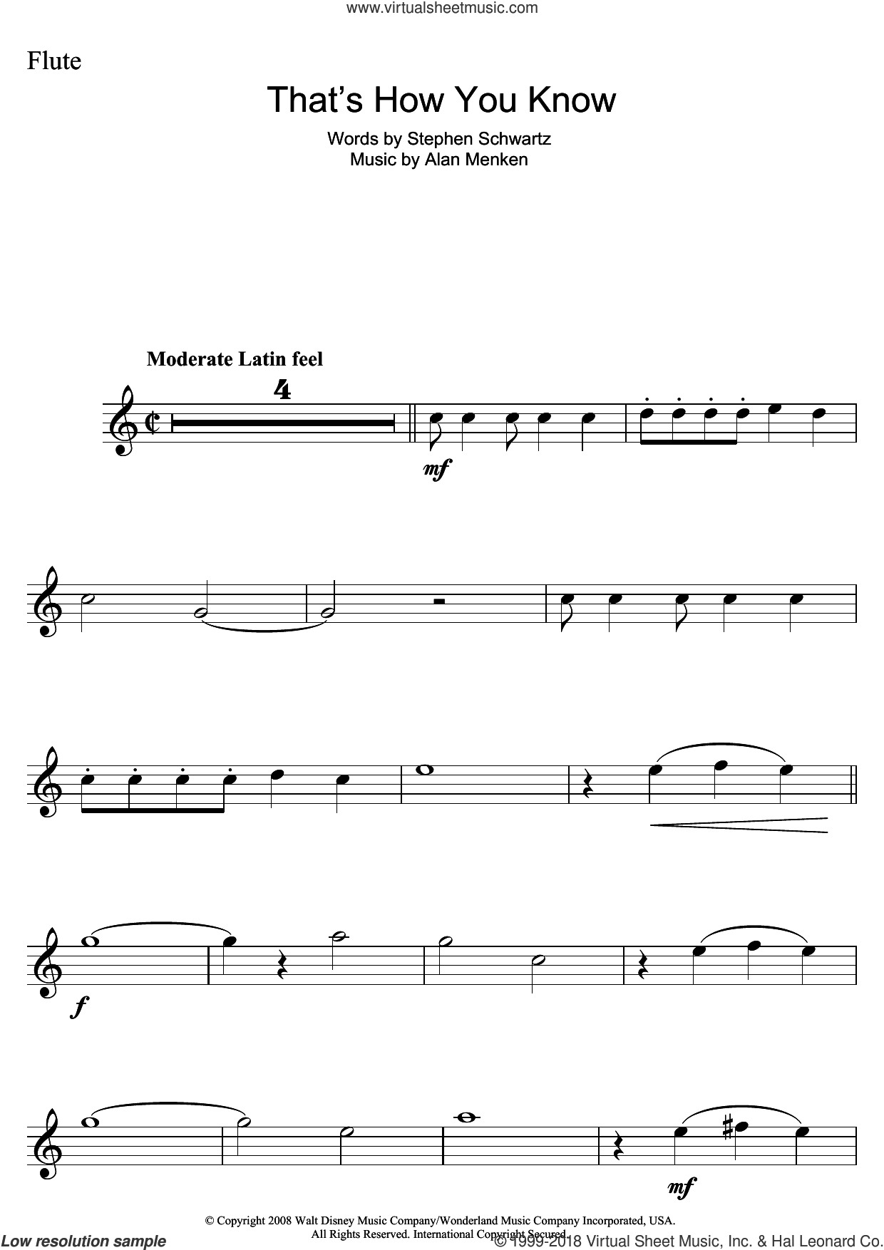 That's How You Know (from Enchanted) sheet music for flute solo by Alan Menken and Stephen Schwartz. Score Image Preview.