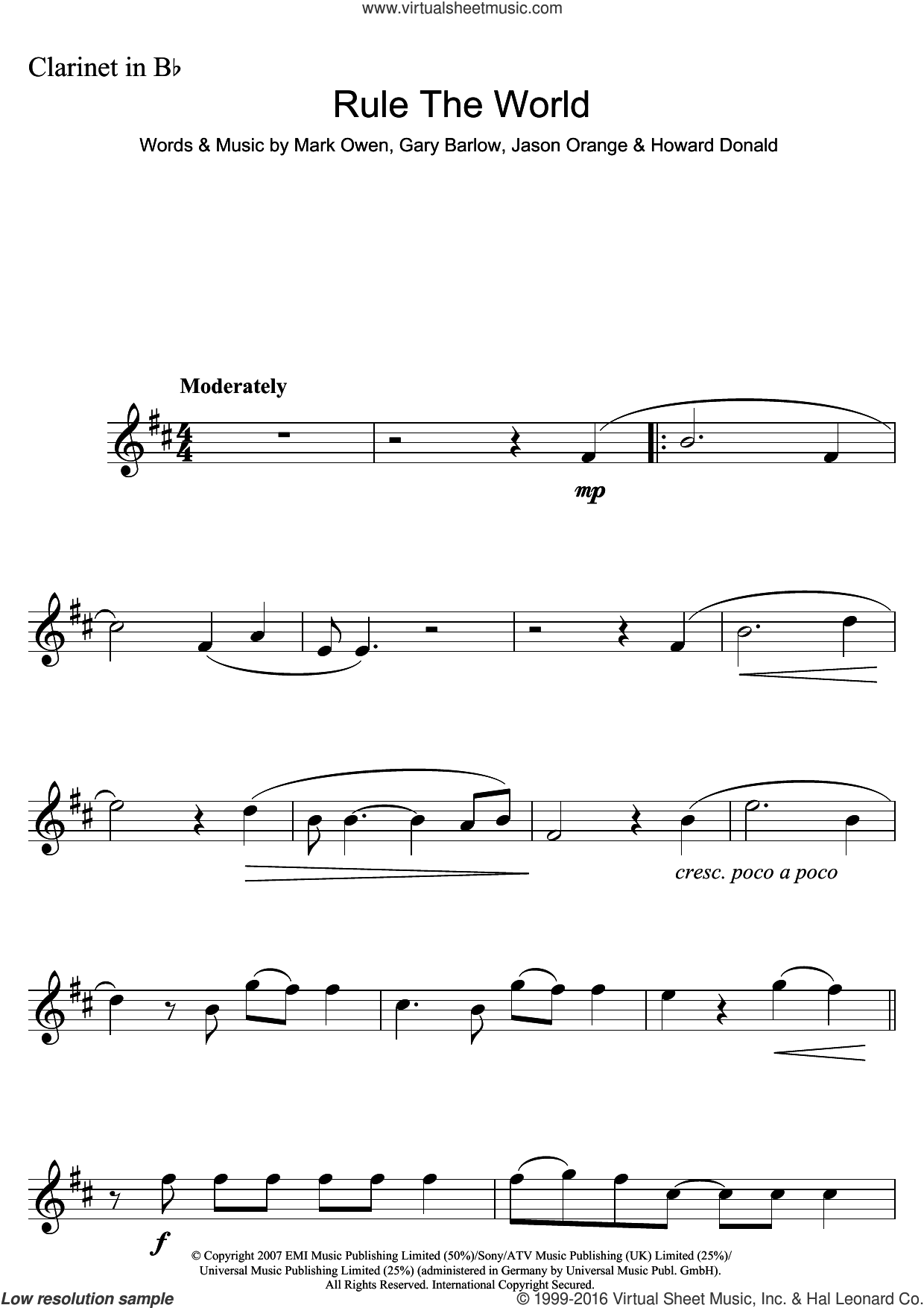 Rule The World (from Stardust) sheet music for clarinet solo by Take That, Gary Barlow, Howard Donald, Jason Orange and Mark Owen, intermediate skill level