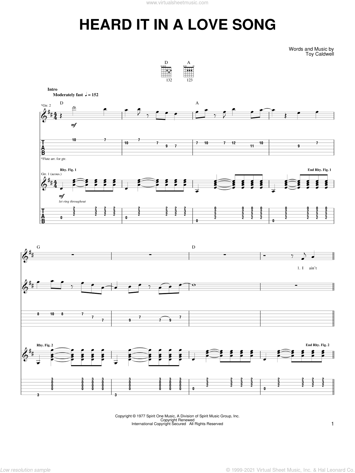 Heard It In A Love Song sheet music for guitar solo (easy tablature) by Toy Caldwell