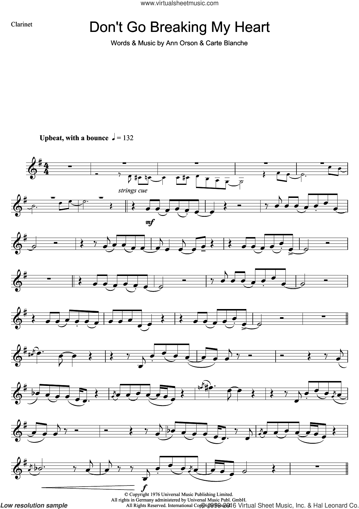 Don't Go Breaking My Heart sheet music for clarinet solo by Carte Blanche