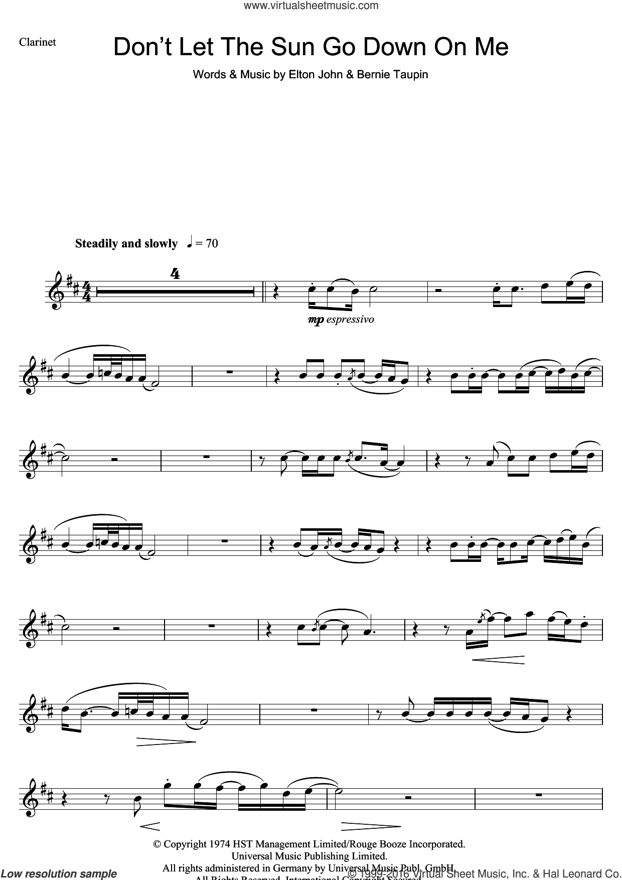 Don't Let The Sun Go Down On Me sheet music for clarinet solo by Elton John and Bernie Taupin. Score Image Preview.