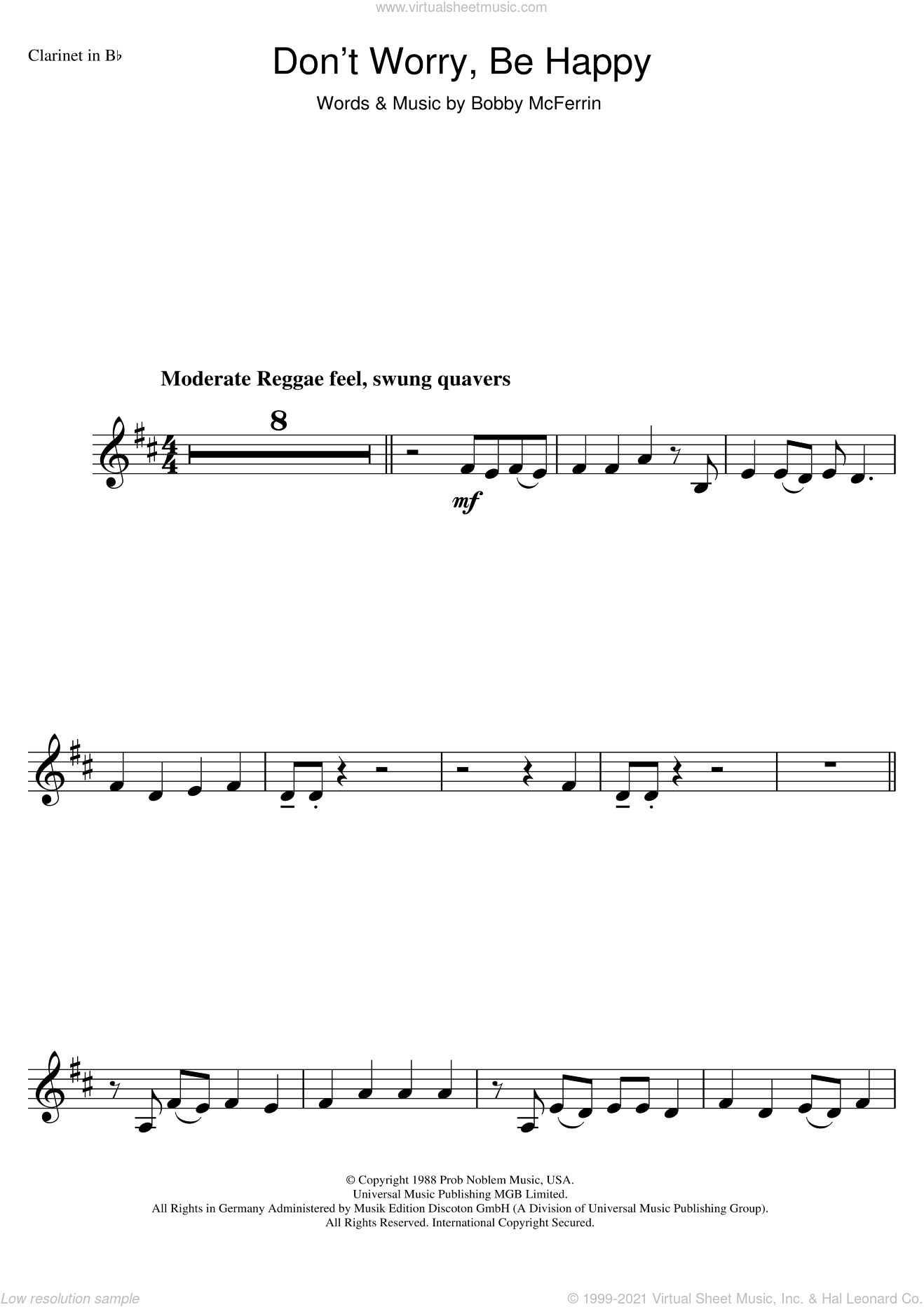 Don't Worry, Be Happy sheet music for clarinet solo by Bobby McFerrin. Score Image Preview.