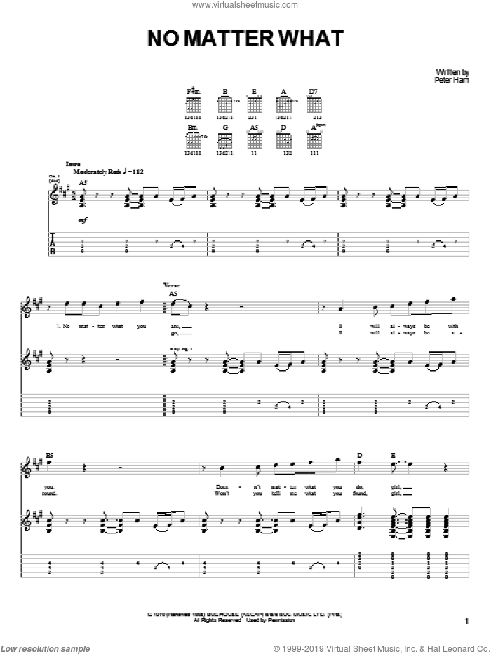 No Matter What sheet music for guitar solo (easy tablature) by Badfinger and Pete Ham, easy guitar (easy tablature). Score Image Preview.