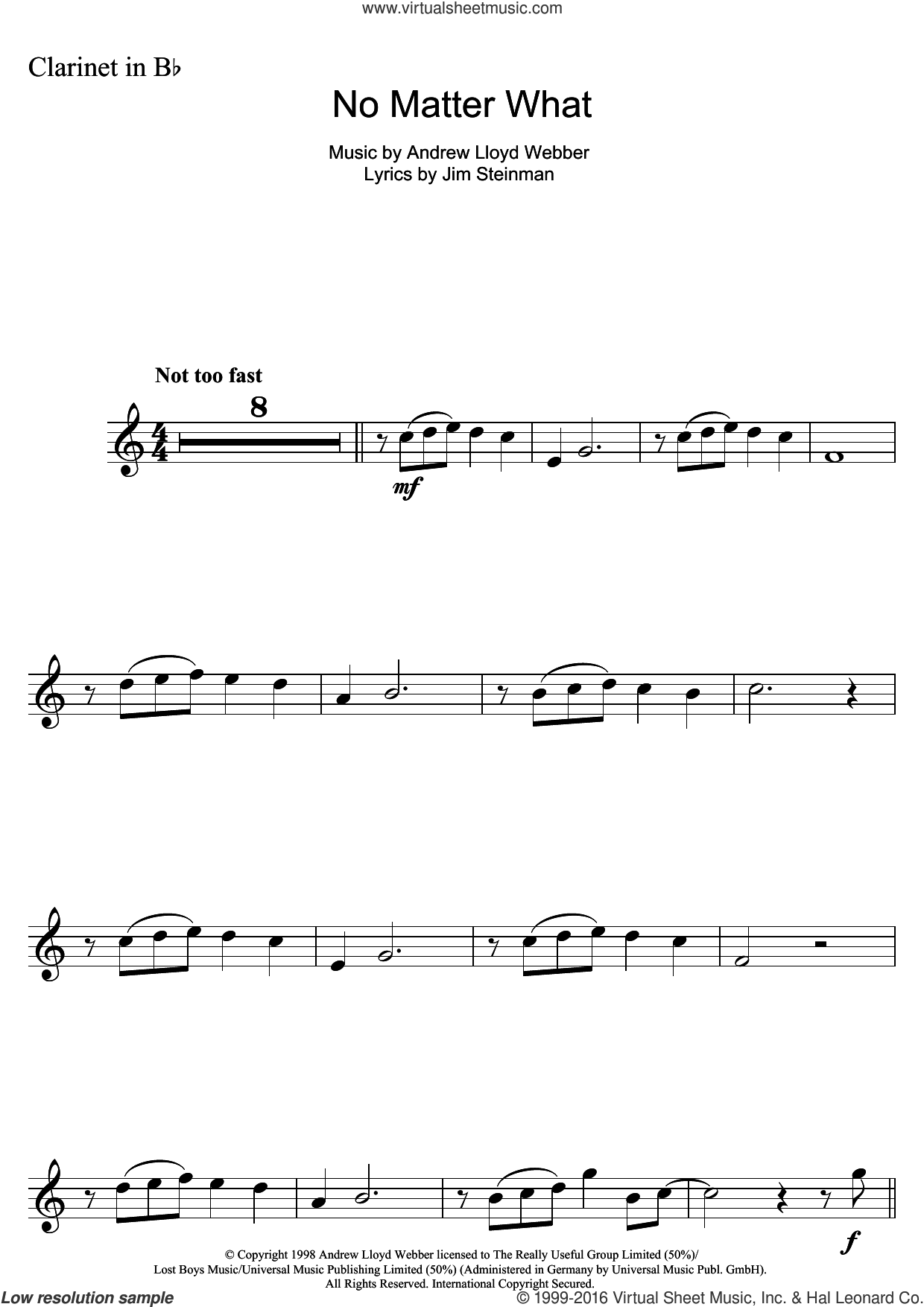 No Matter What (from Whistle Down The Wind) sheet music for clarinet solo by Andrew Lloyd Webber, Boyzone and Jim Steinman, intermediate skill level