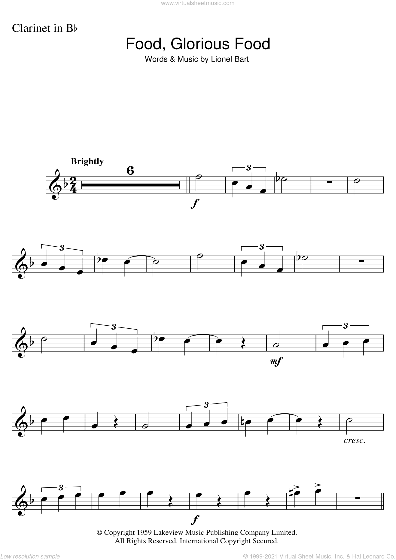 Food, Glorious Food (from Oliver!) sheet music for clarinet solo by Lionel Bart, intermediate skill level
