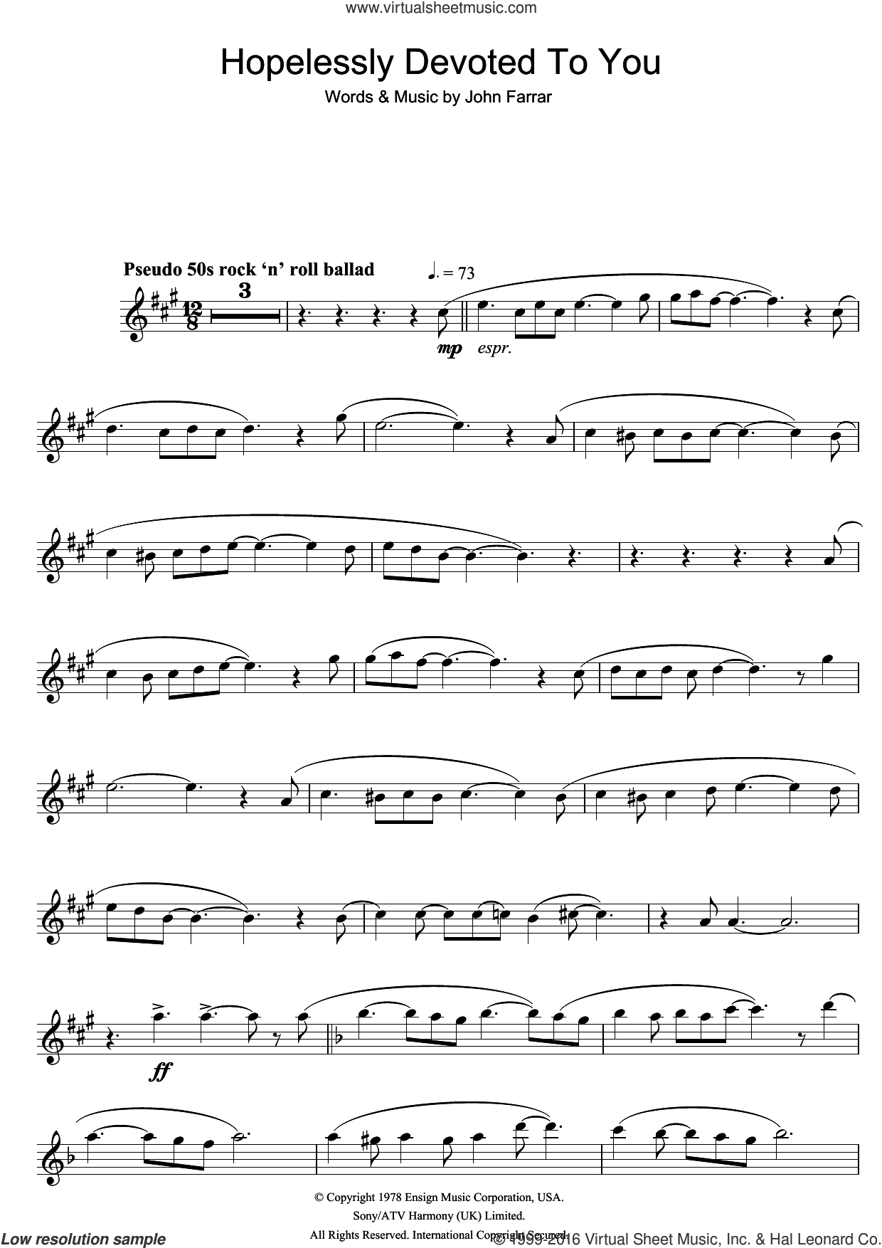 Hopelessly Devoted To You (from Grease) sheet music for tenor saxophone solo by Olivia Newton-John and John Farrar, intermediate skill level