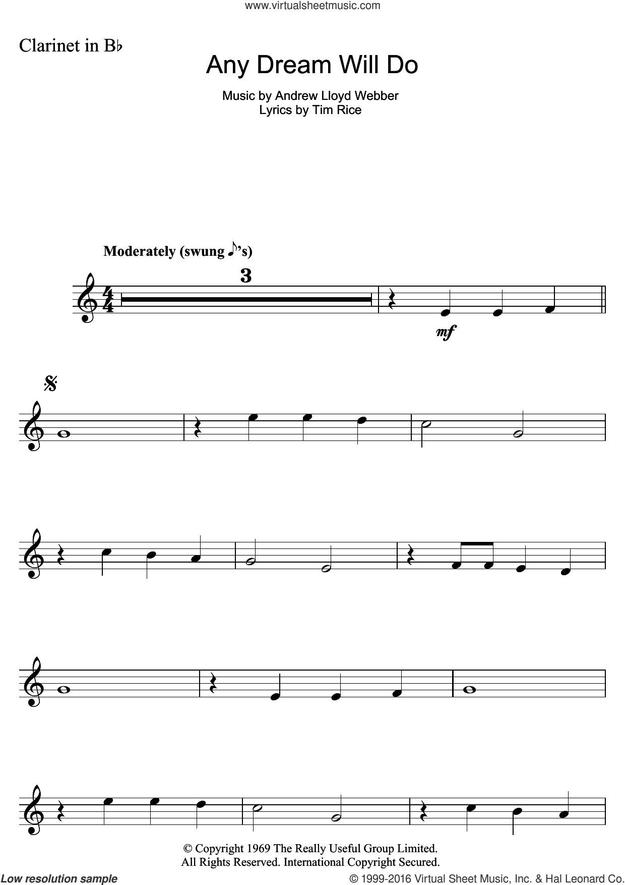 Any Dream Will Do (from Joseph And The Amazing Technicolor Dreamcoat) sheet music for clarinet solo by Andrew Lloyd Webber and Tim Rice, intermediate skill level