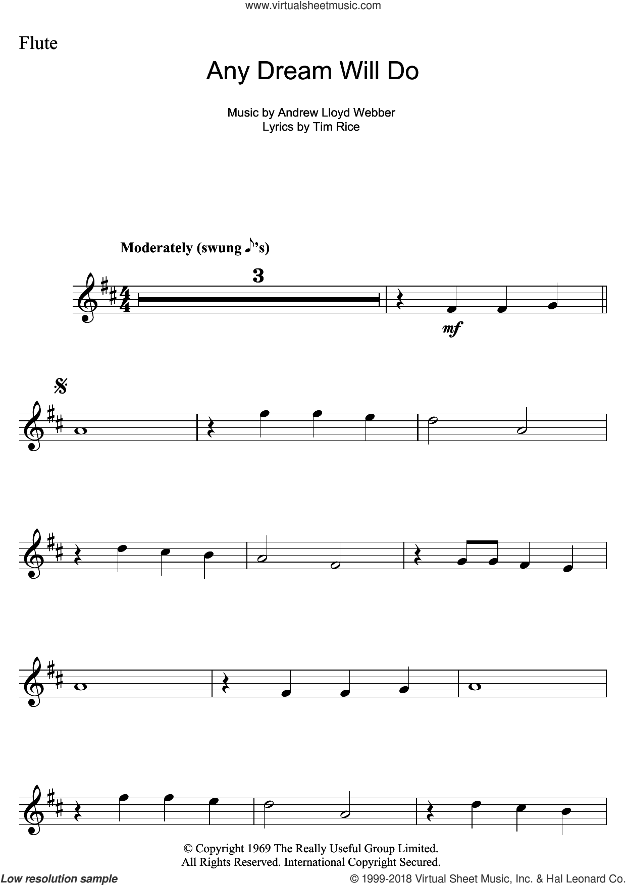 Any Dream Will Do (from Joseph And The Amazing Technicolor Dreamcoat) sheet music for flute solo by Andrew Lloyd Webber and Tim Rice, intermediate skill level