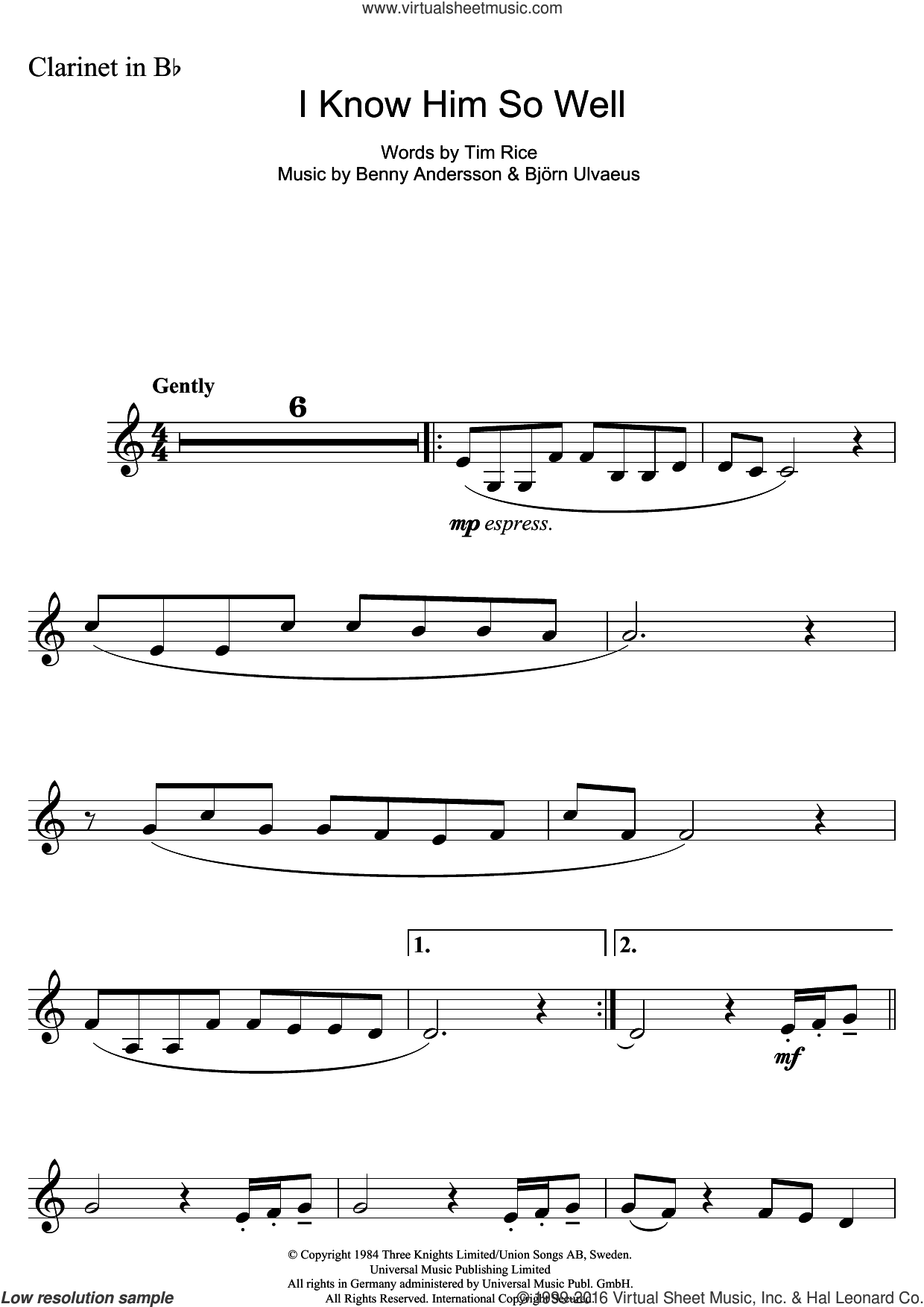 I Know Him So Well (from Chess) sheet music for clarinet solo by Tim Rice, Benny Andersson and Bjorn Ulvaeus, intermediate skill level