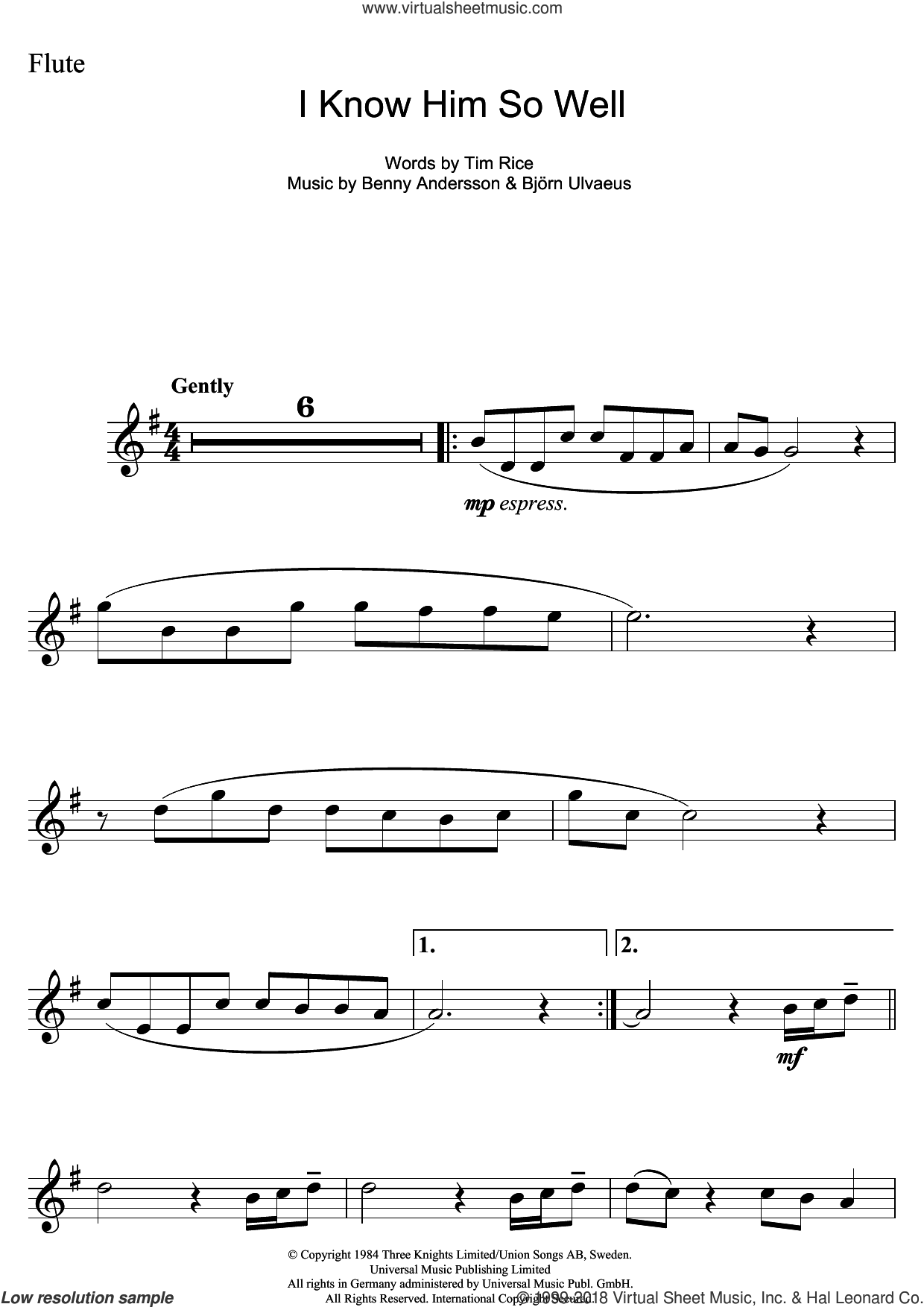 I Know Him So Well (from Chess) sheet music for flute solo by Elaine Paige, Benny Andersson, Benny Andersson and Tim Rice and Bjorn Ulvaeus, Bjorn Ulvaeus and Tim Rice, intermediate skill level