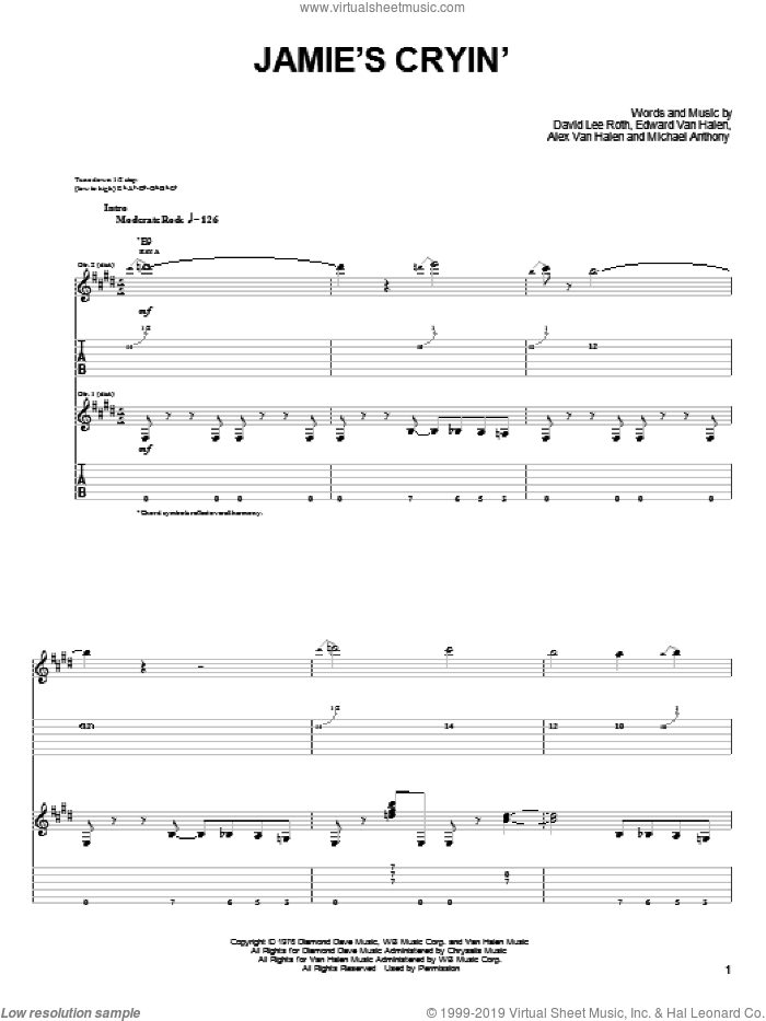Jamie's Cryin' sheet music for guitar solo (easy tablature) by Michael Anthony