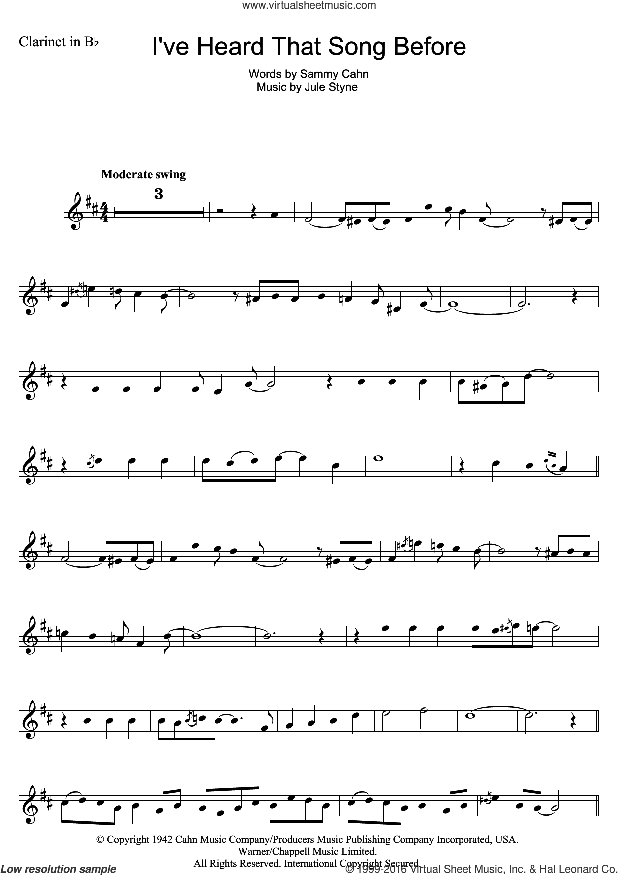 I've Heard That Song Before sheet music for clarinet solo by Harry James, Jule Styne and Sammy Cahn, intermediate skill level