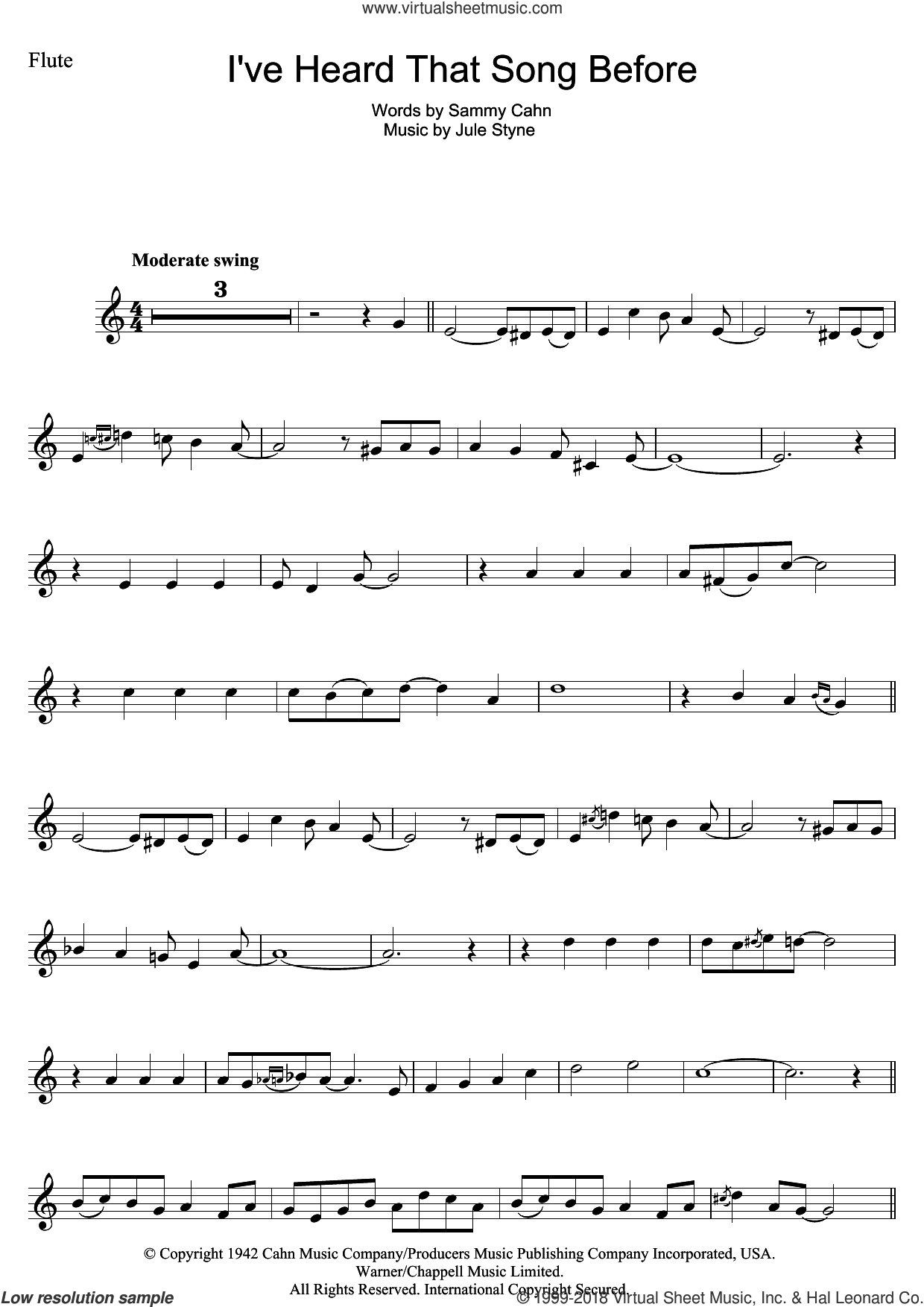 I've Heard That Song Before sheet music for flute solo by Harry James, Jule Styne and Sammy Cahn, intermediate skill level