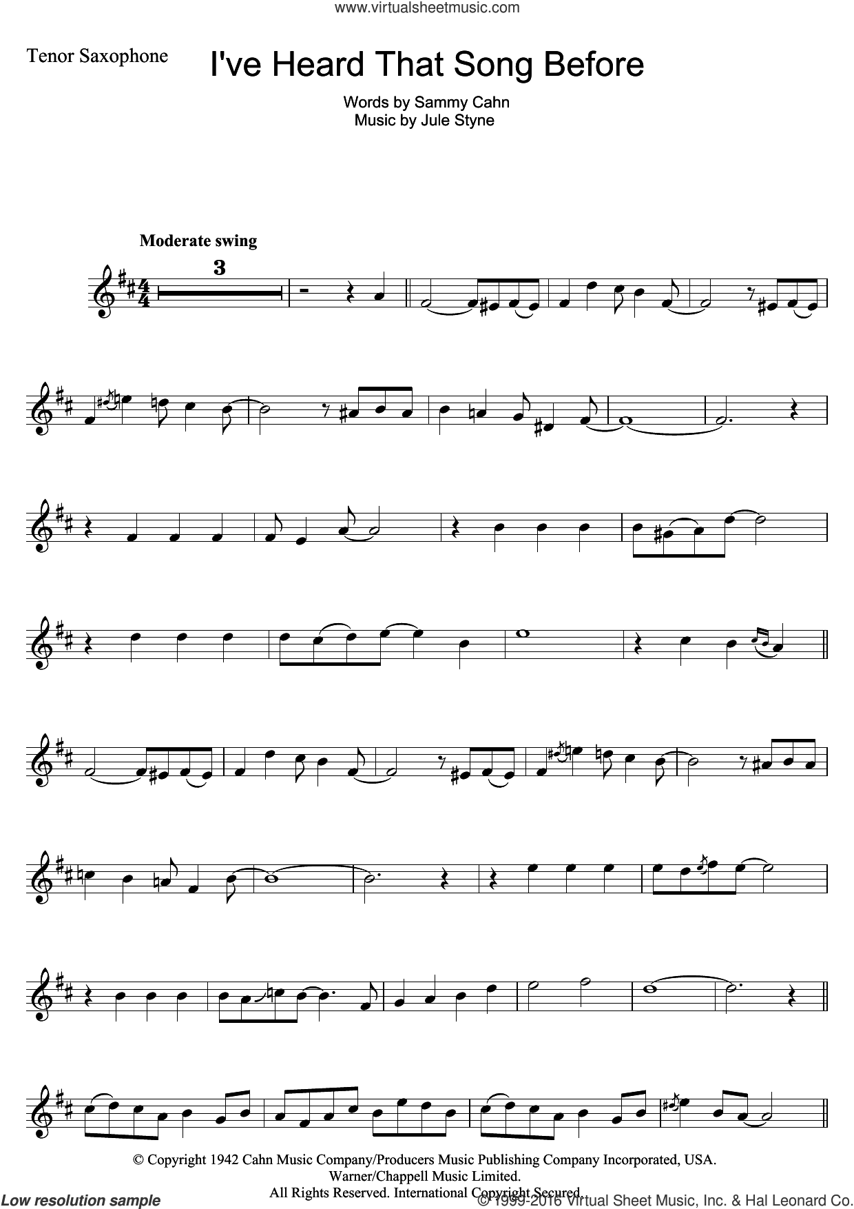 I've Heard That Song Before sheet music for tenor saxophone solo by Harry James, Jule Styne and Sammy Cahn, intermediate. Score Image Preview.